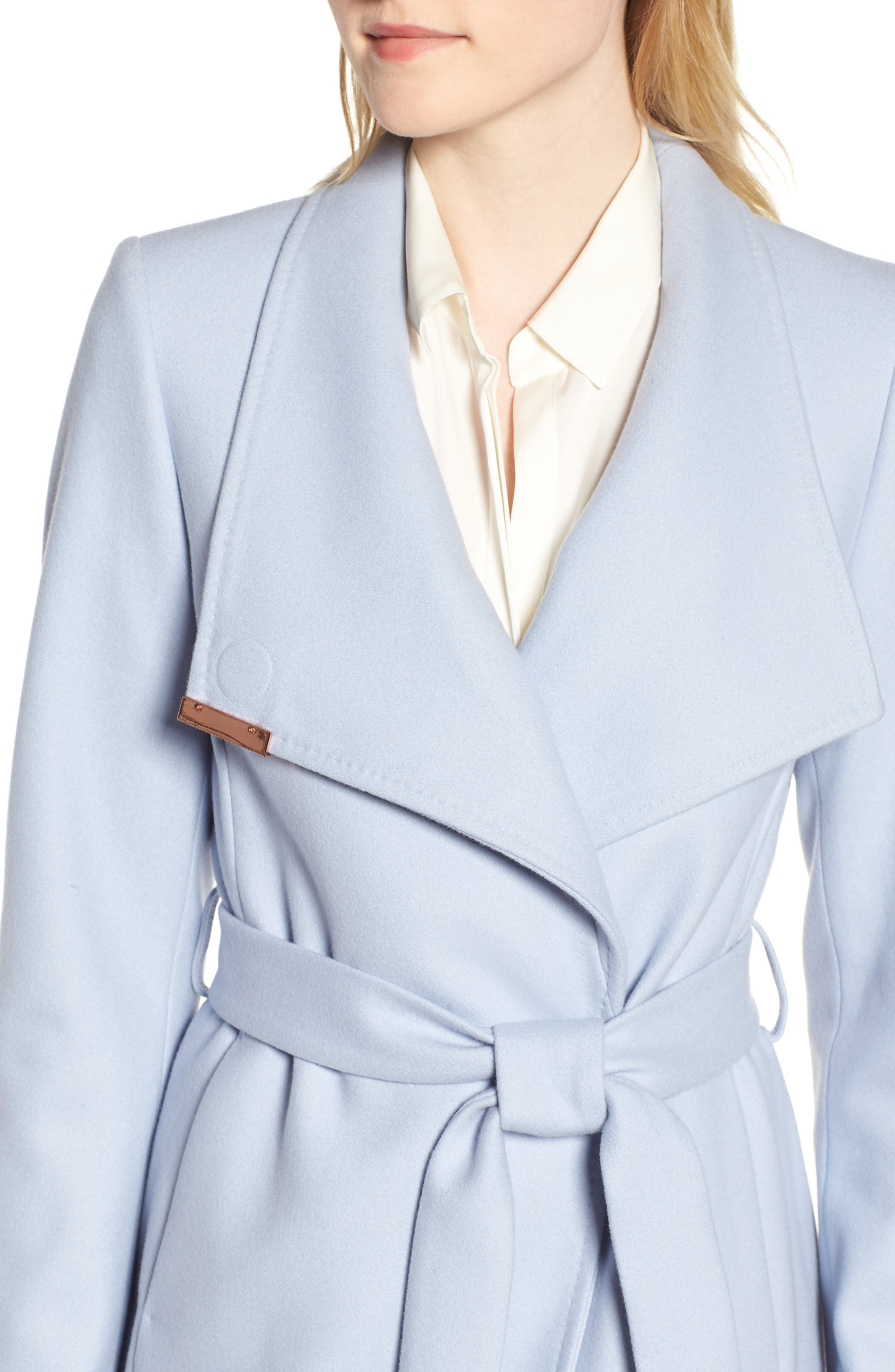 Wool Blend Long Wrap Coat,                             Alternate thumbnail 4, color,                             POWDER BLUE