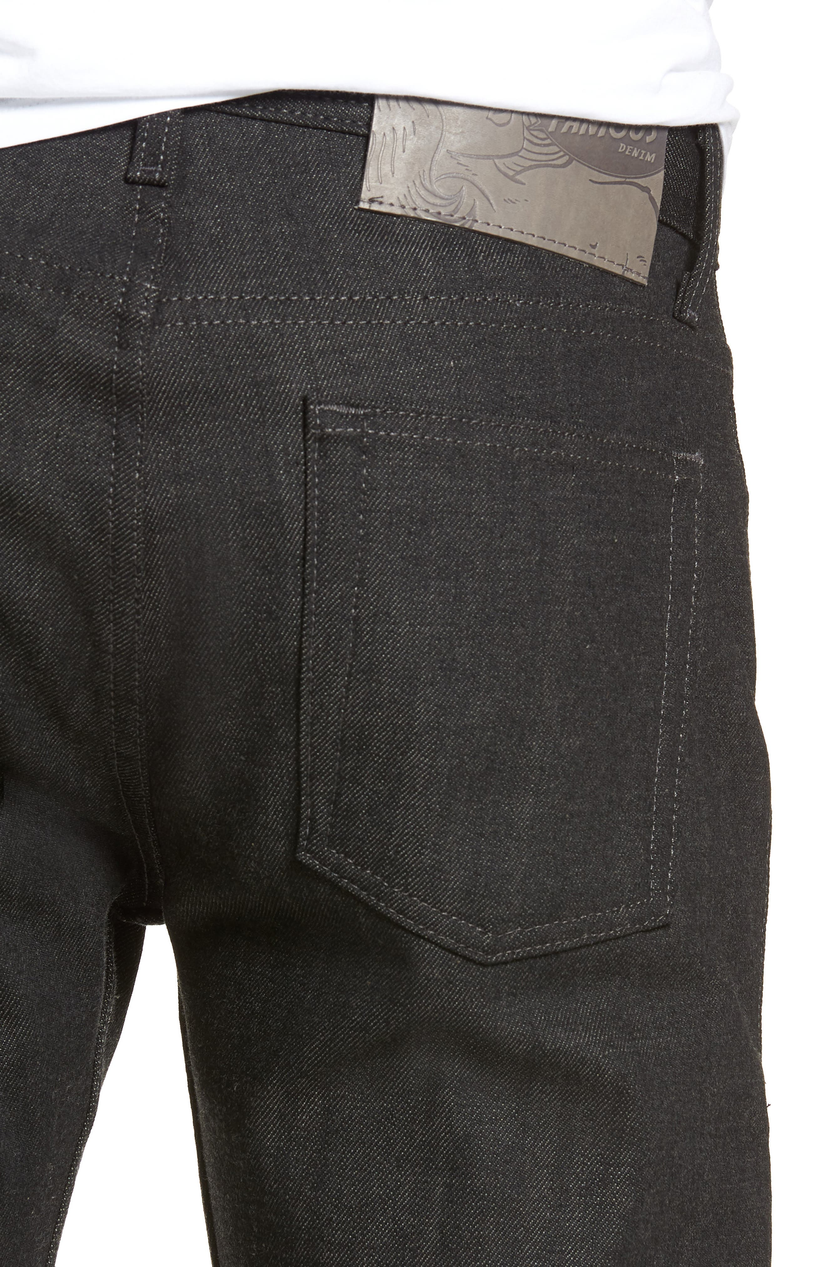 Weird Guy Slim Fit Jeans,                             Alternate thumbnail 4, color,                             BLACK X GREY STRETCH SELVEDGE