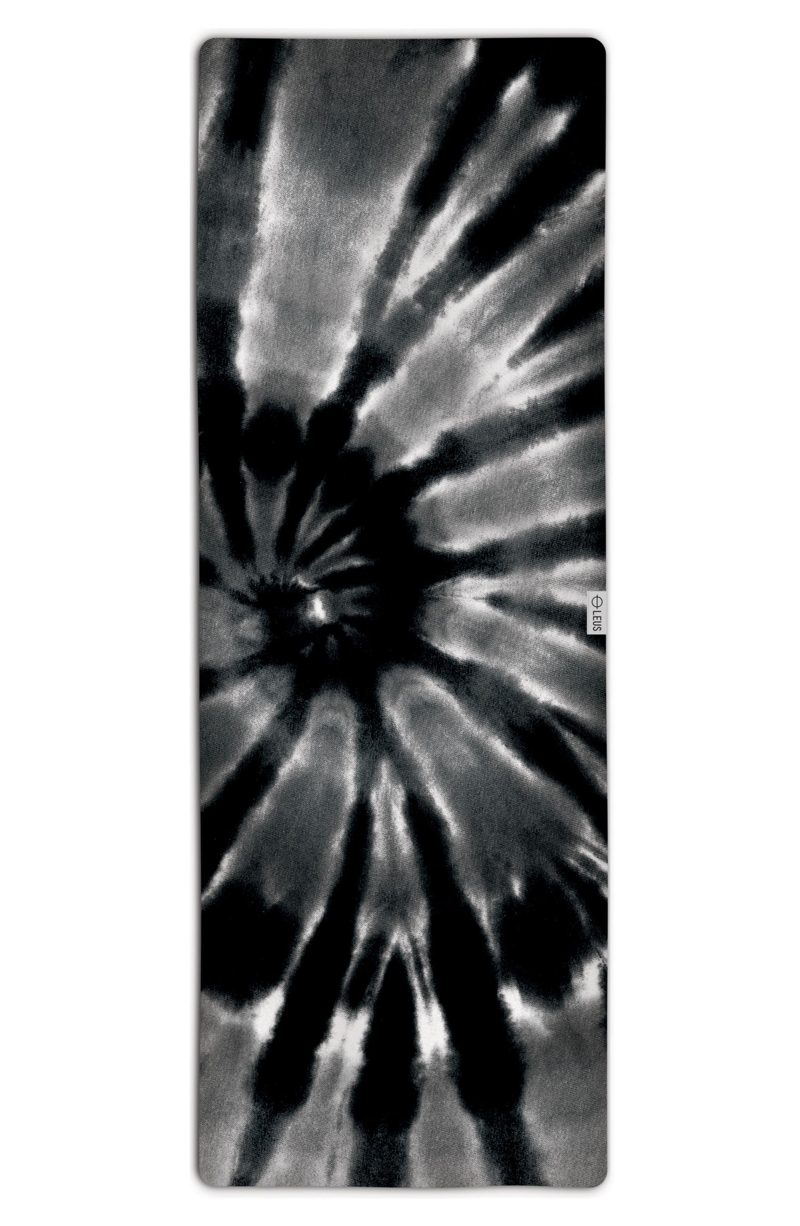 Tie Dye Yoga Mat Towel,                             Main thumbnail 1, color,                             BLACK