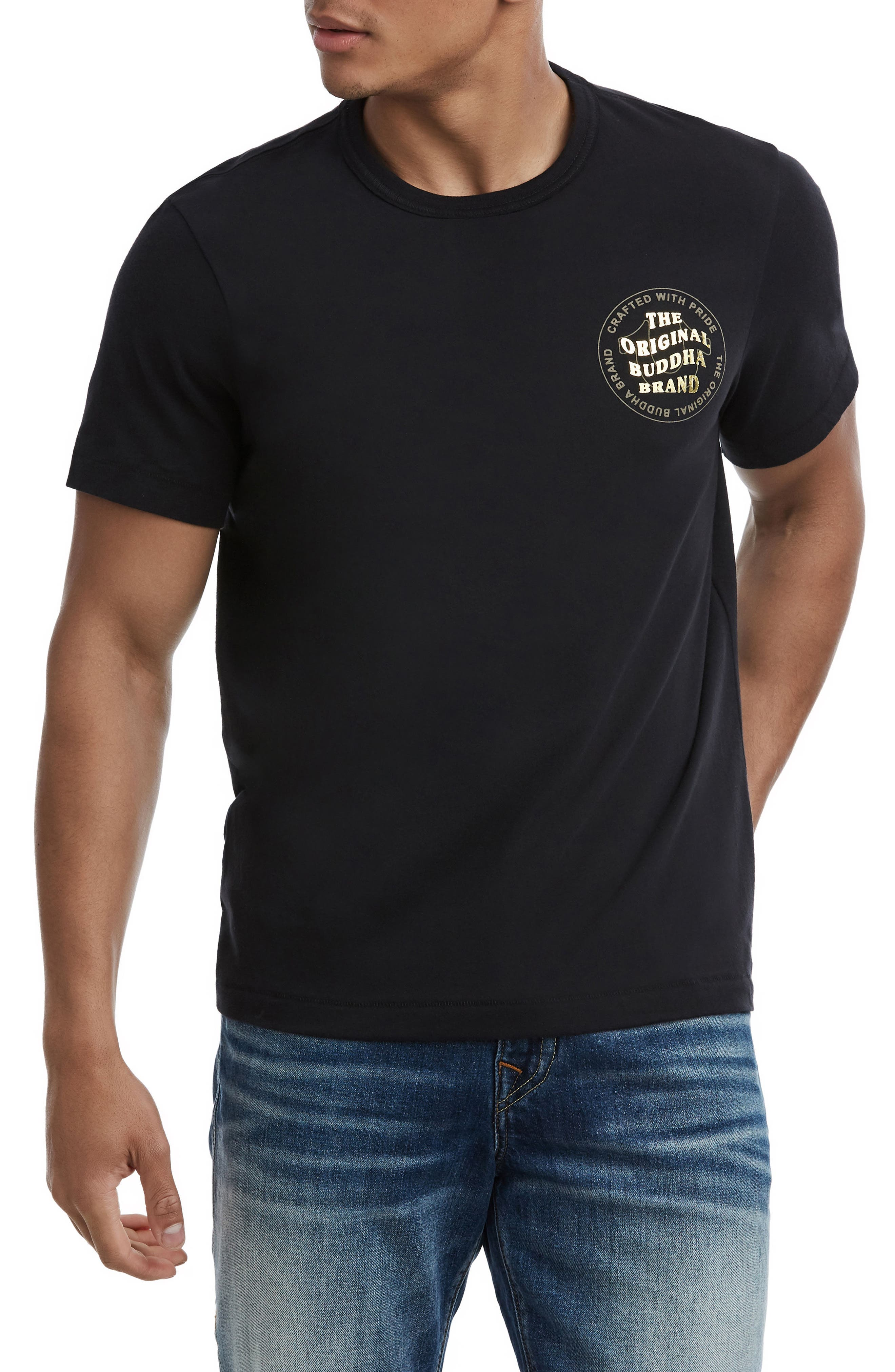 Wavy Buddha Brand T-Shirt,                             Main thumbnail 1, color,                             TRUE BLACK
