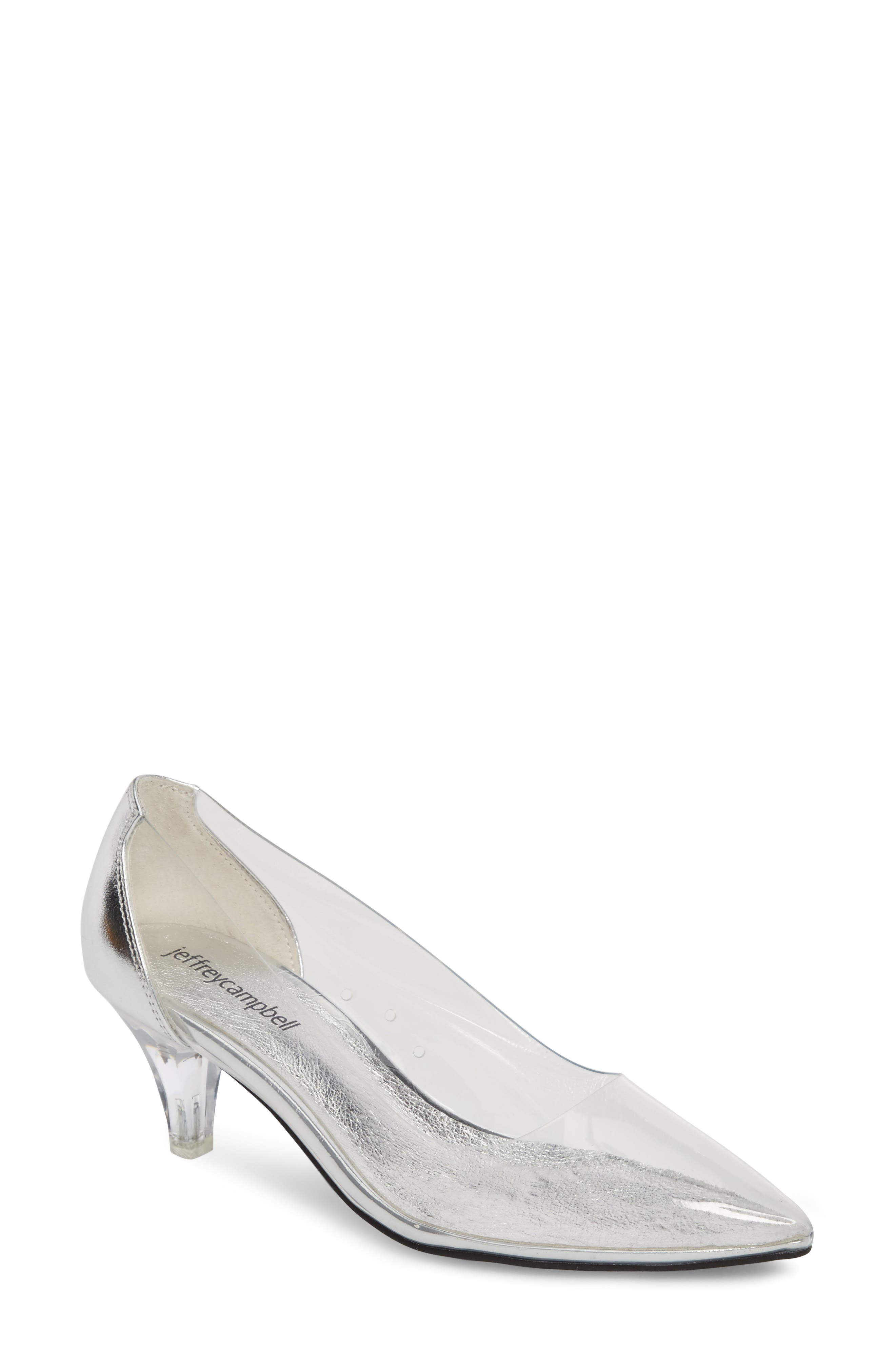 Gracienne Transparent Pump,                         Main,                         color, CLEAR/ SILVER LEATHER