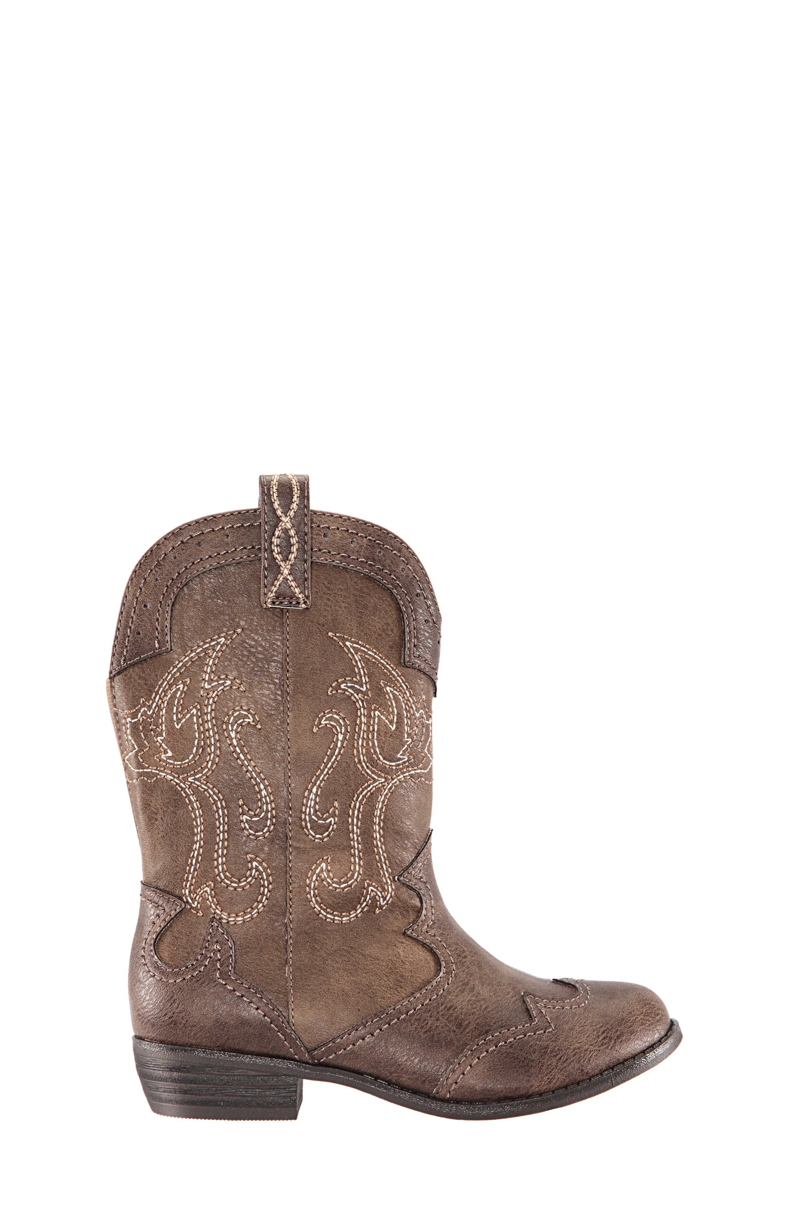 Beti Western Boot,                             Alternate thumbnail 3, color,                             BROWN DISTRESSED