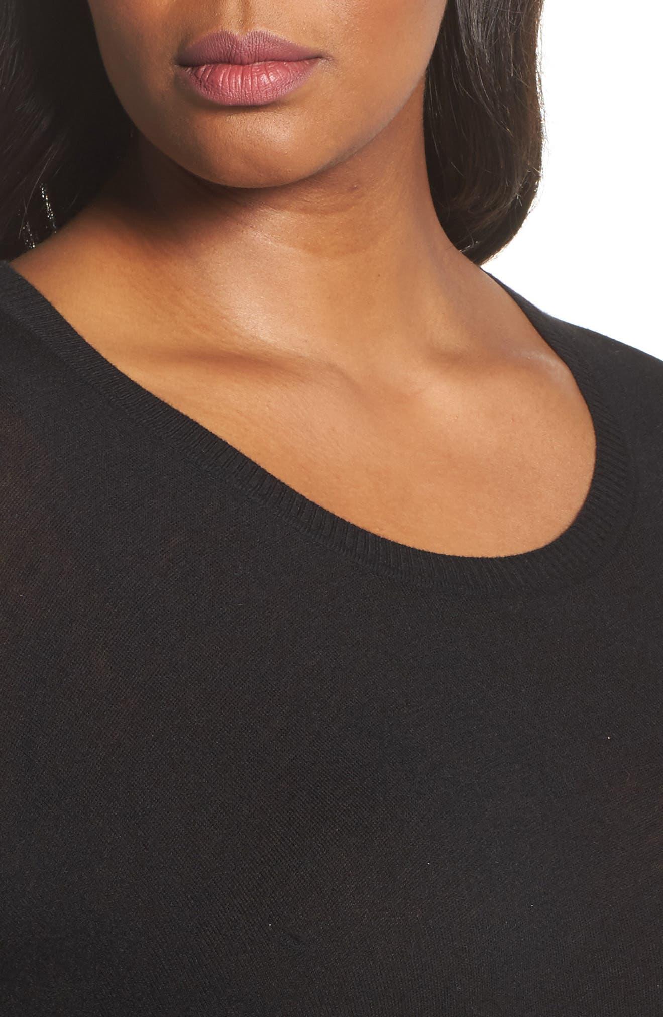 Asymmetrical Hem Sweater,                             Alternate thumbnail 4, color,                             001