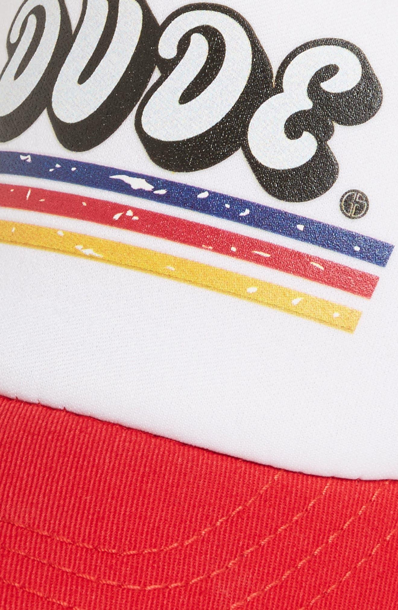 Dude Trucker Hat,                             Alternate thumbnail 3, color,                             RED/ WHITE
