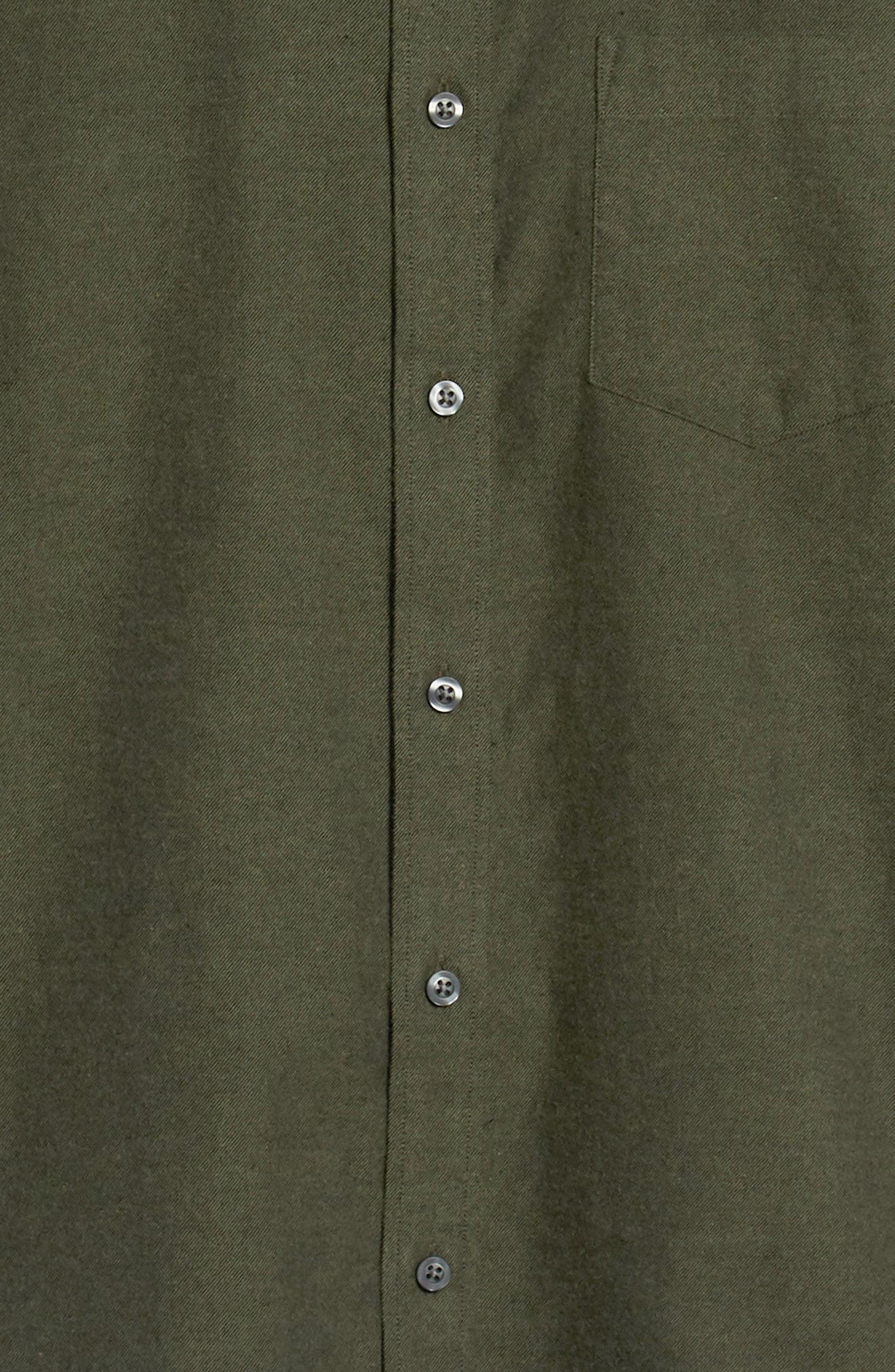 Traditional Fit Brushed Twill Sport Shirt,                             Alternate thumbnail 6, color,                             GREEN FOREST BRUSHED TWILL