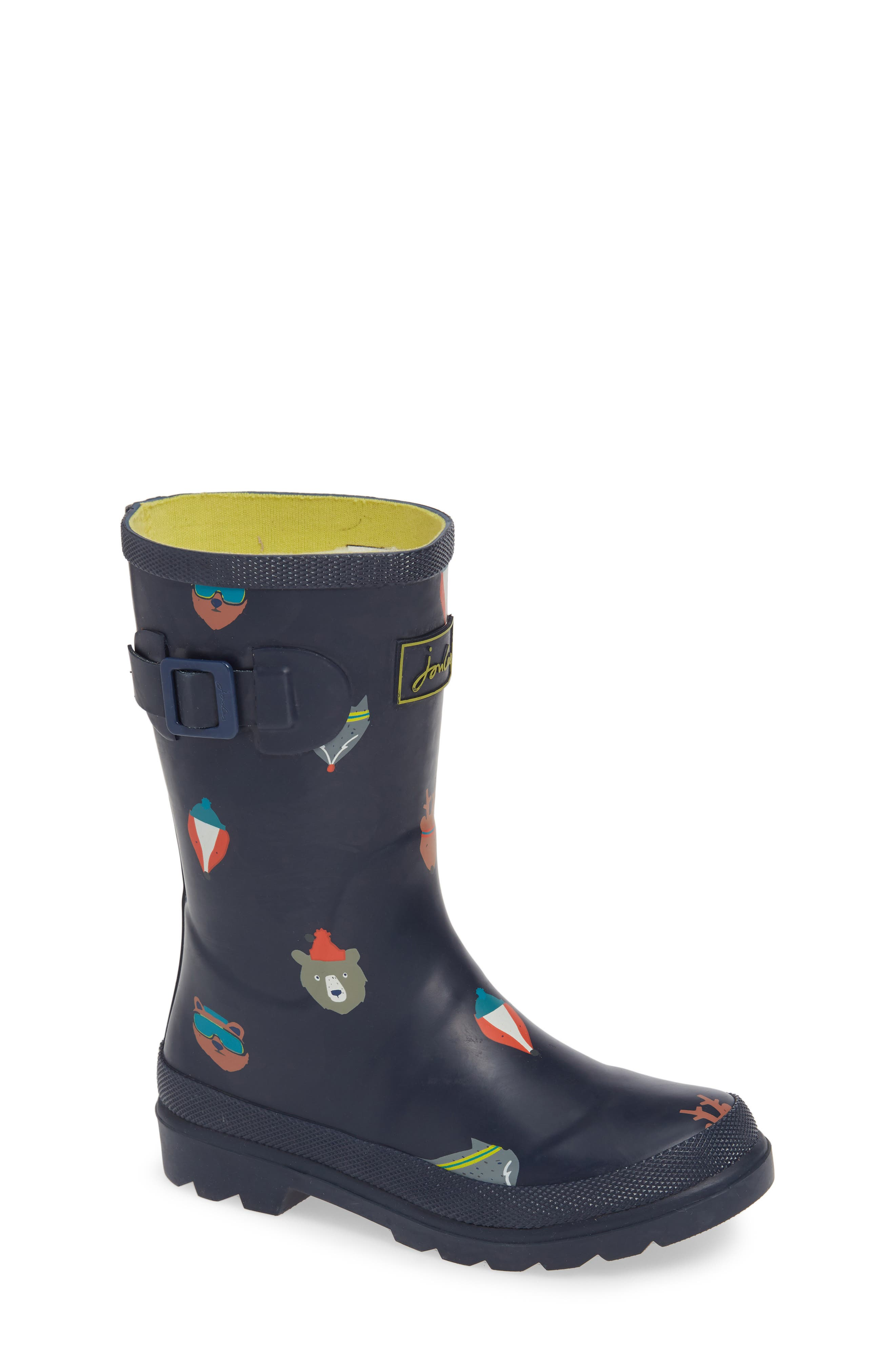 Welly Print Rain Boot,                         Main,                         color, FRENCH NAVY ANIMALS