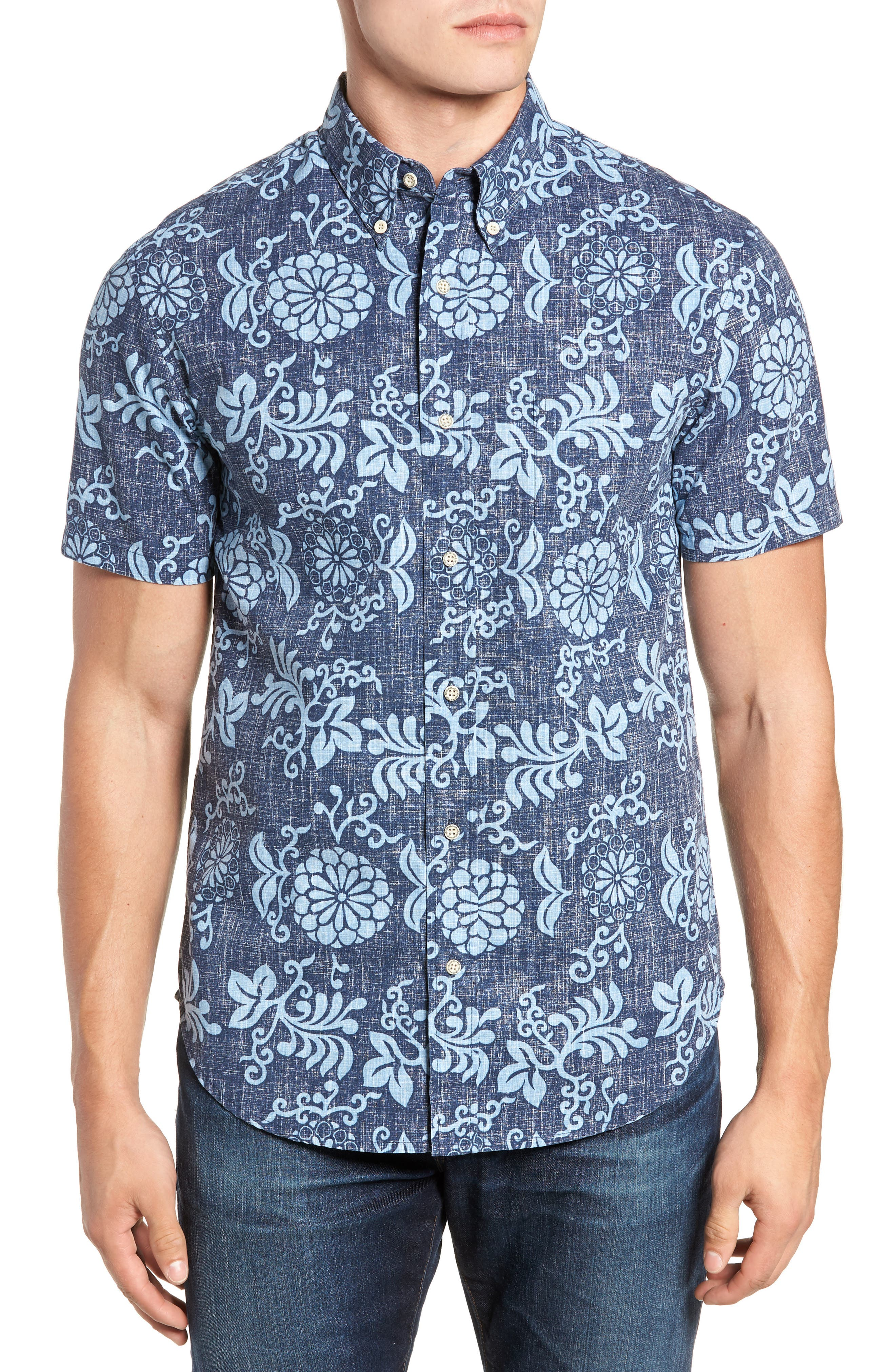 Reyn Spooner Royal Chrysanthemums Regular Fit Sport Shirt, Blue