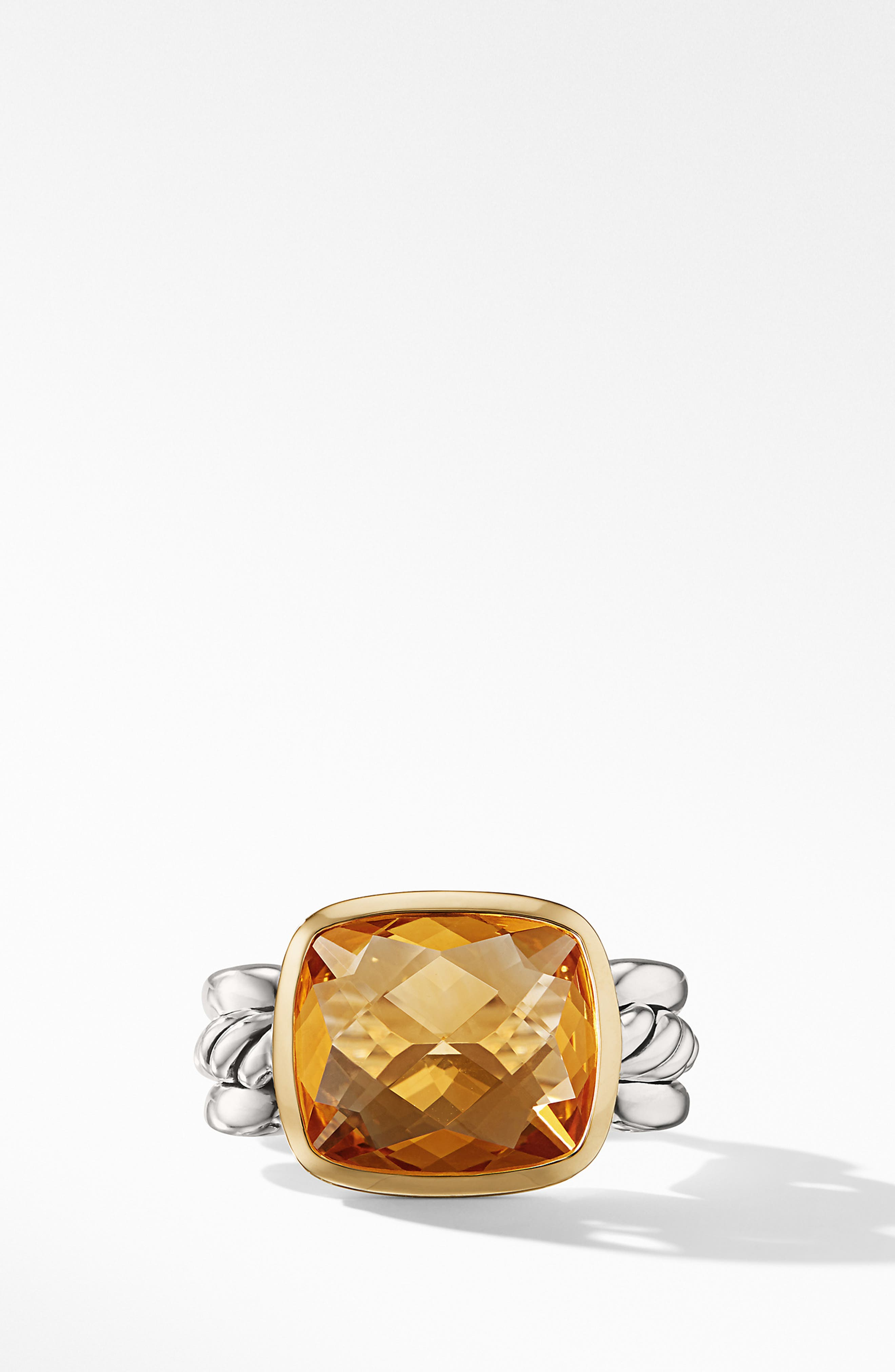Wellesley Link Statement Ring with 18K Gold,                             Alternate thumbnail 3, color,                             SILVER/ CITRINE