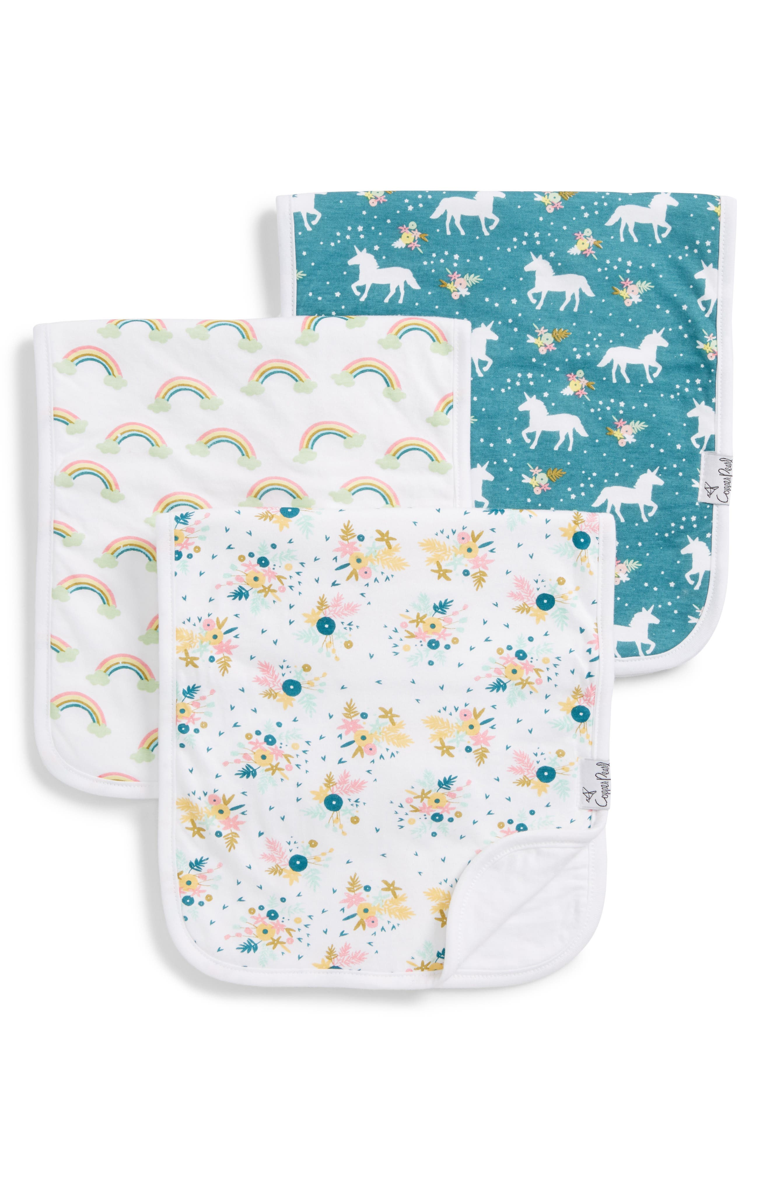 3-Pack Burp Cloths,                         Main,                         color, WHIMSY