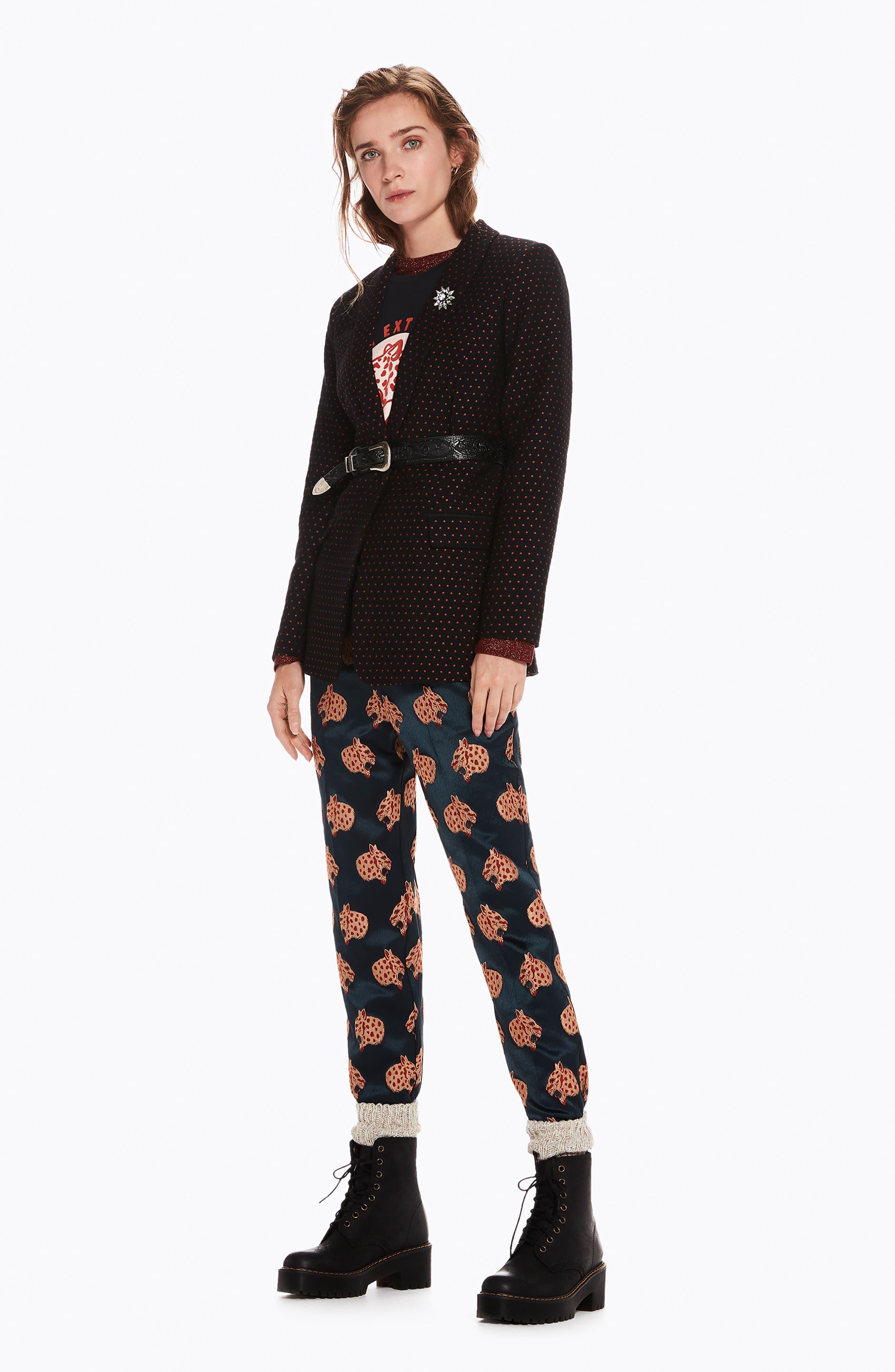 SCOTCH & SODA,                             Tailored Stretch Jacquard Blazer,                             Alternate thumbnail 4, color,                             BLACK W/ SMALL STAR PRINT