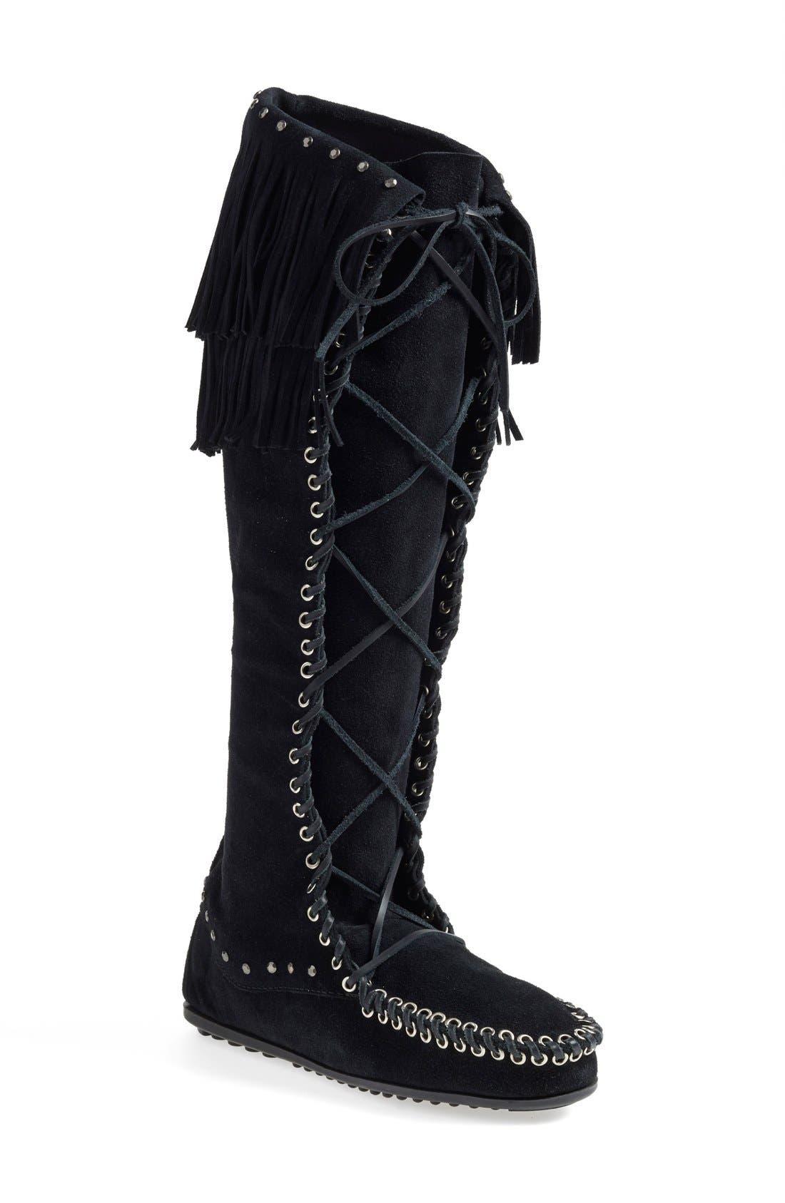x Minnetonka Fringe Lace-Up Knee High Boot, Main, color, 001