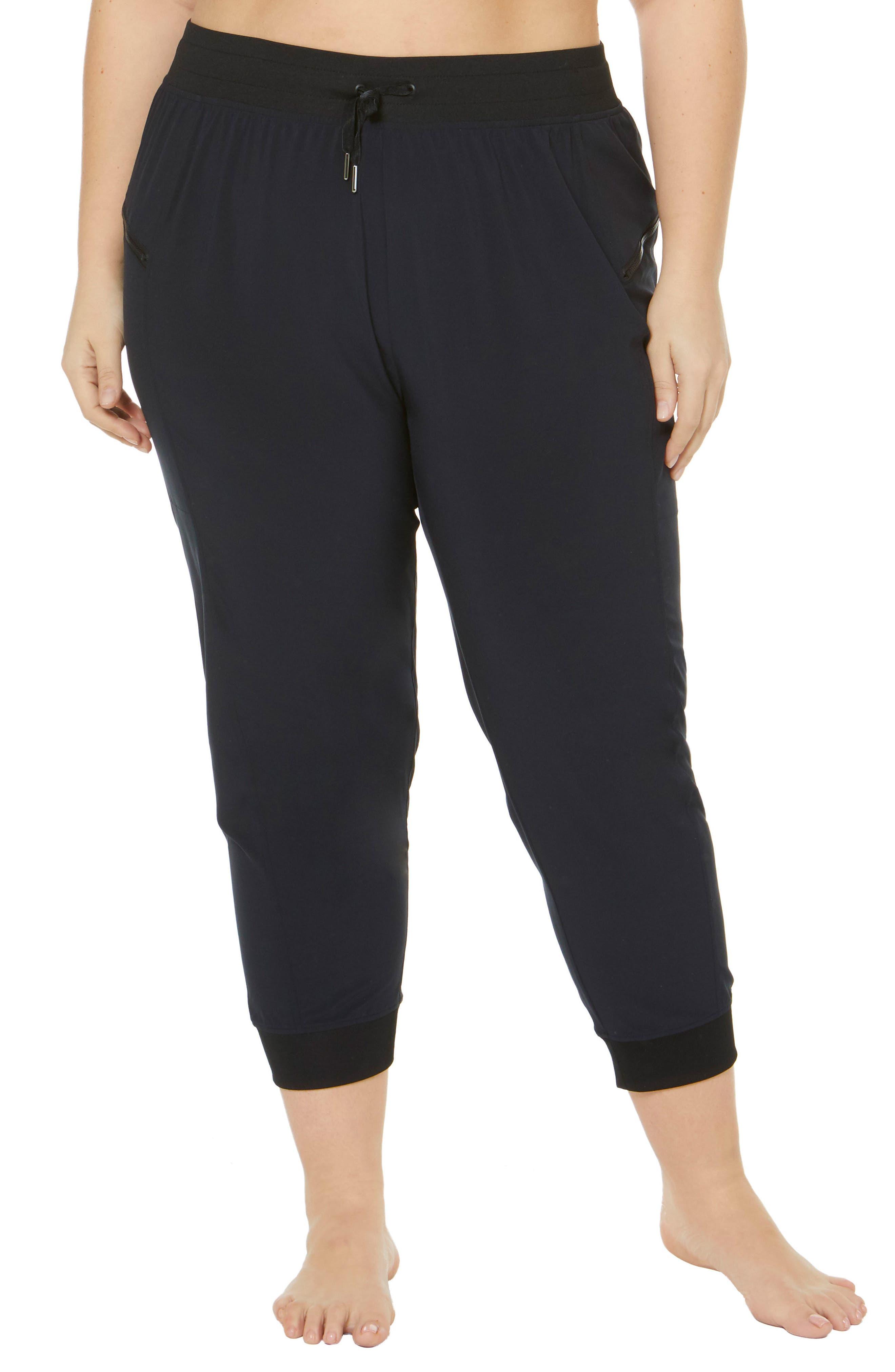 Plus Size Shape Activewear City High Rise Woven Capri Pants, Black