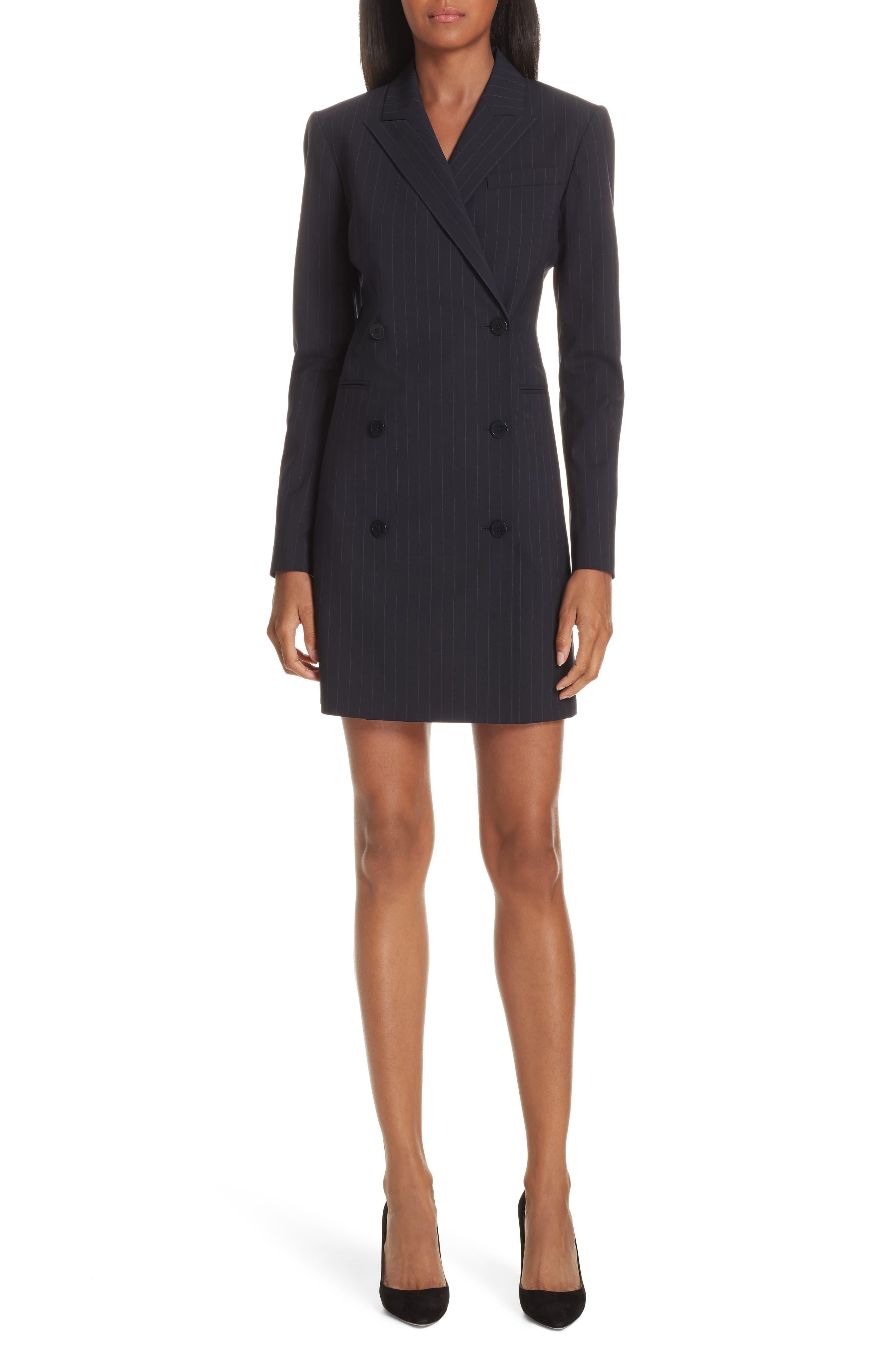Pinstripe Blazer Dress,                         Main,                         color, DEEP NAVY/ GREY
