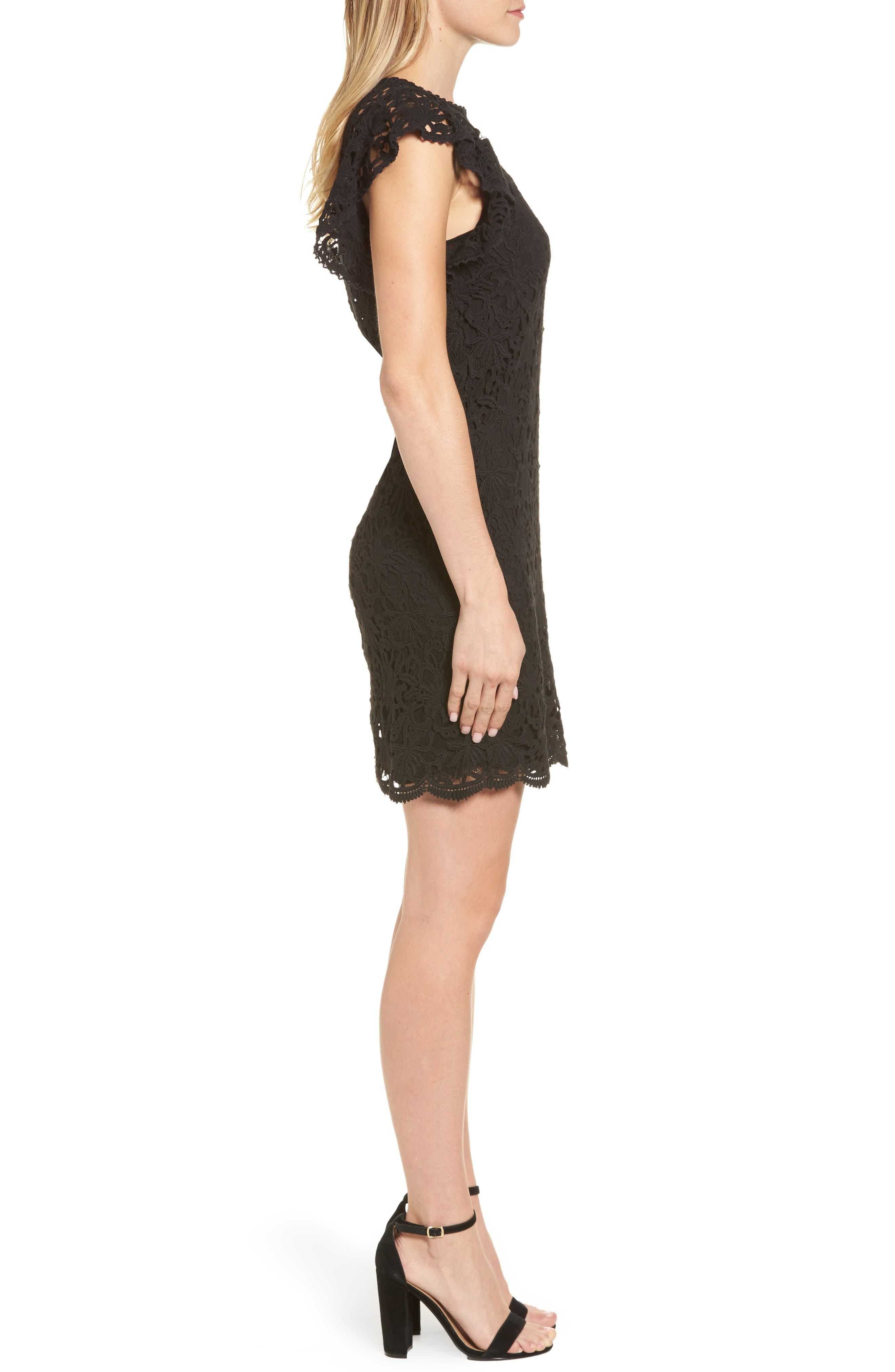 Flutter Sleeve Lace Sheath Dress,                             Alternate thumbnail 3, color,                             001