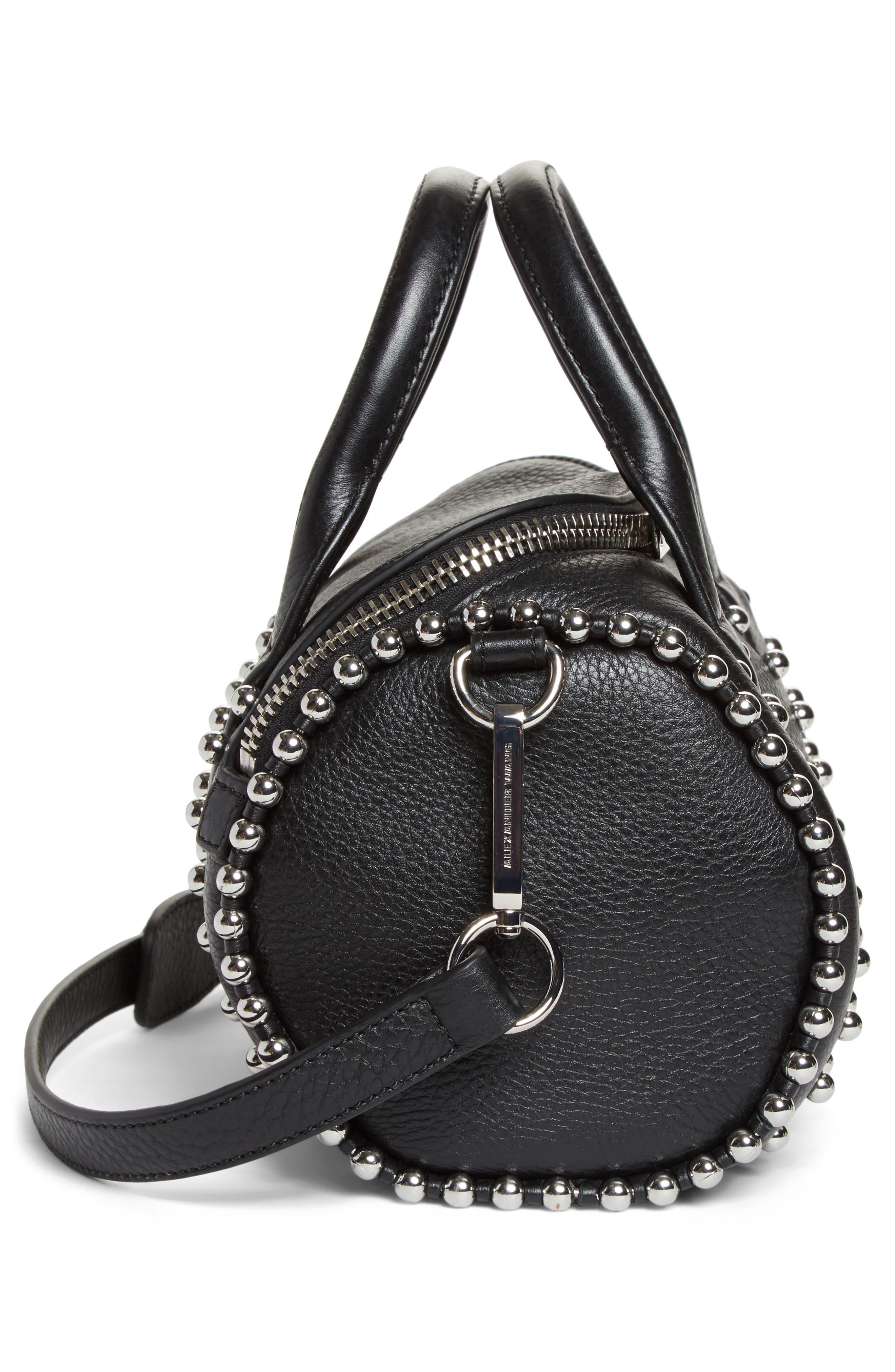 Mini Rockie Studded Leather Crossbody Satchel,                             Alternate thumbnail 5, color,                             BLACK