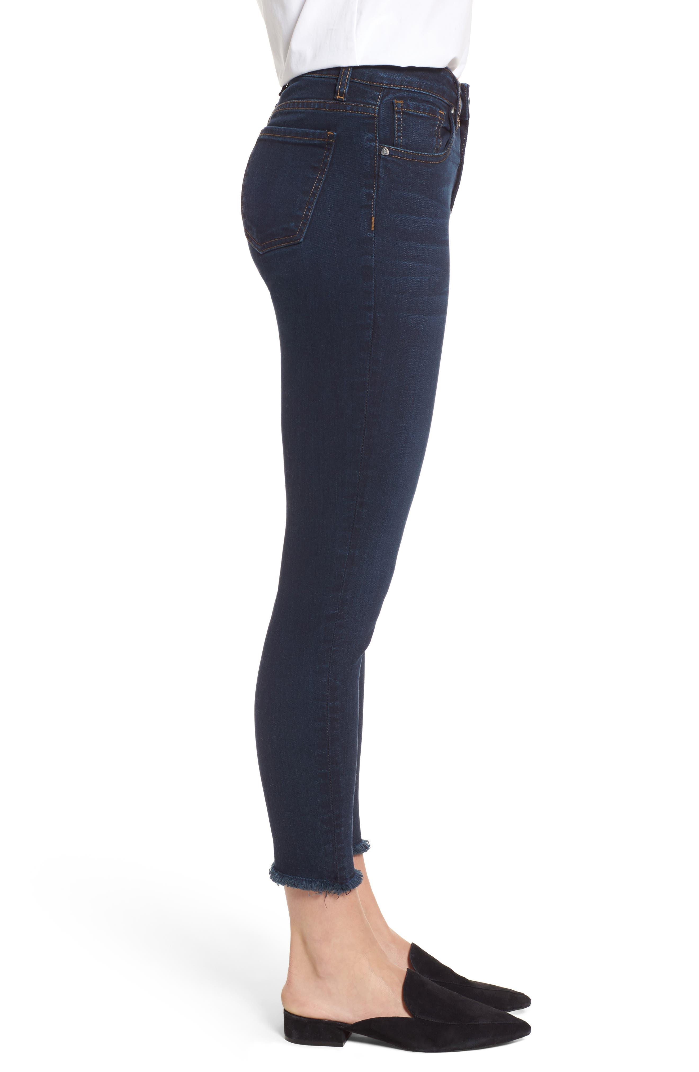 Donna Frayed Skinny Crop Jeans,                             Alternate thumbnail 3, color,                             491