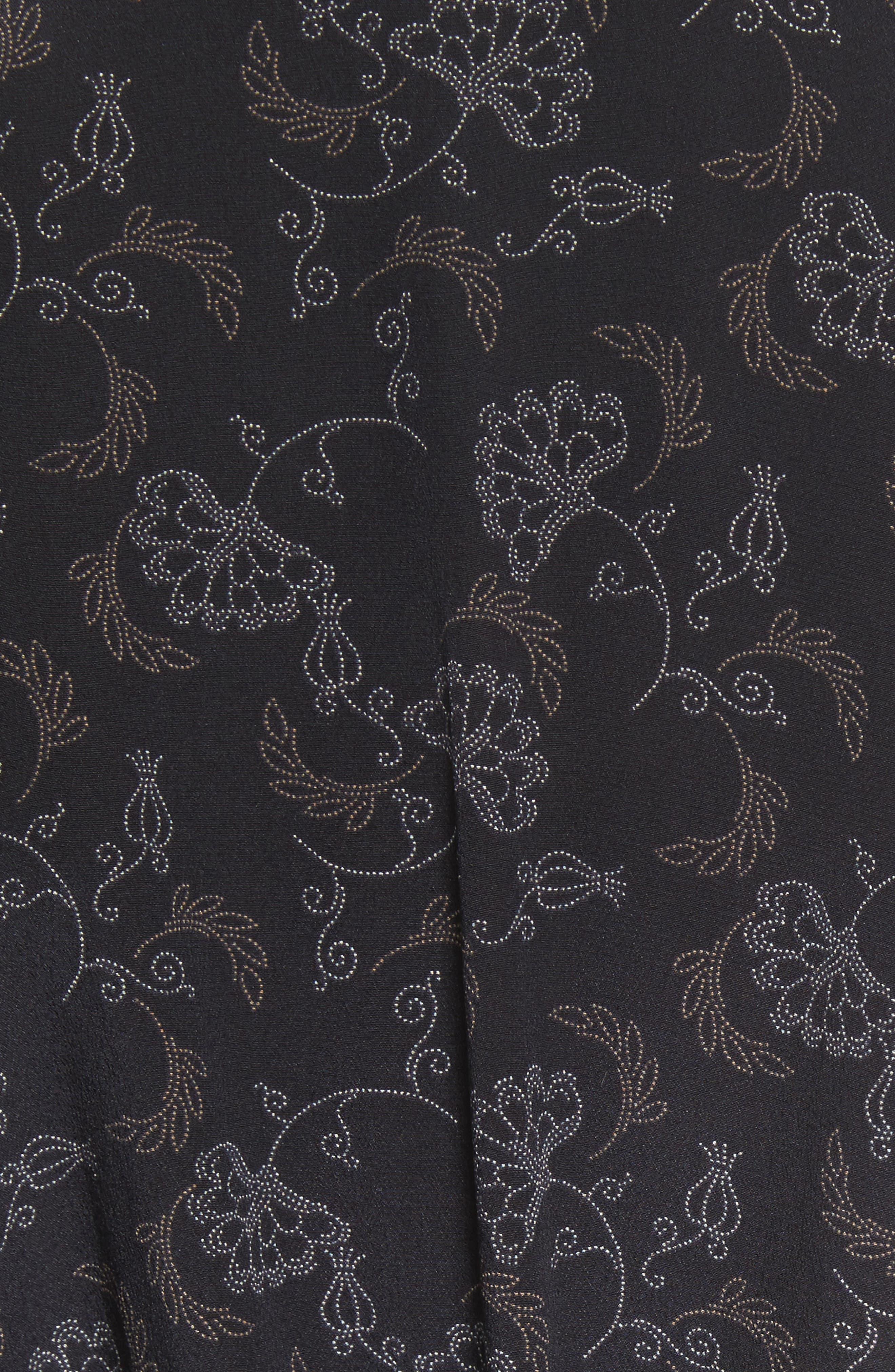 Floral Dot Kimono Silk Wrap Dress,                             Alternate thumbnail 5, color,                             001
