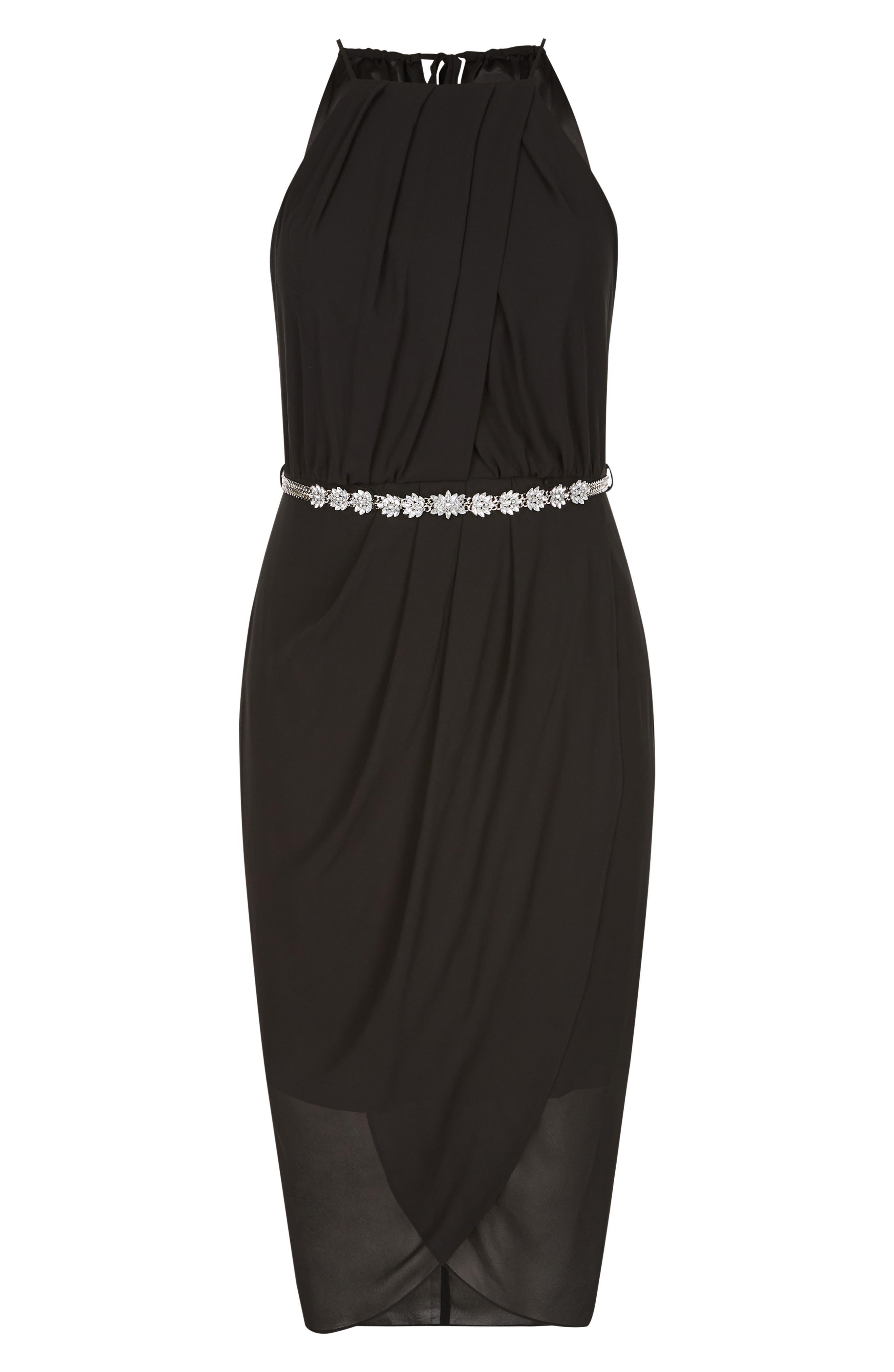Wrap Love Belted Dress,                             Alternate thumbnail 2, color,                             BLACK