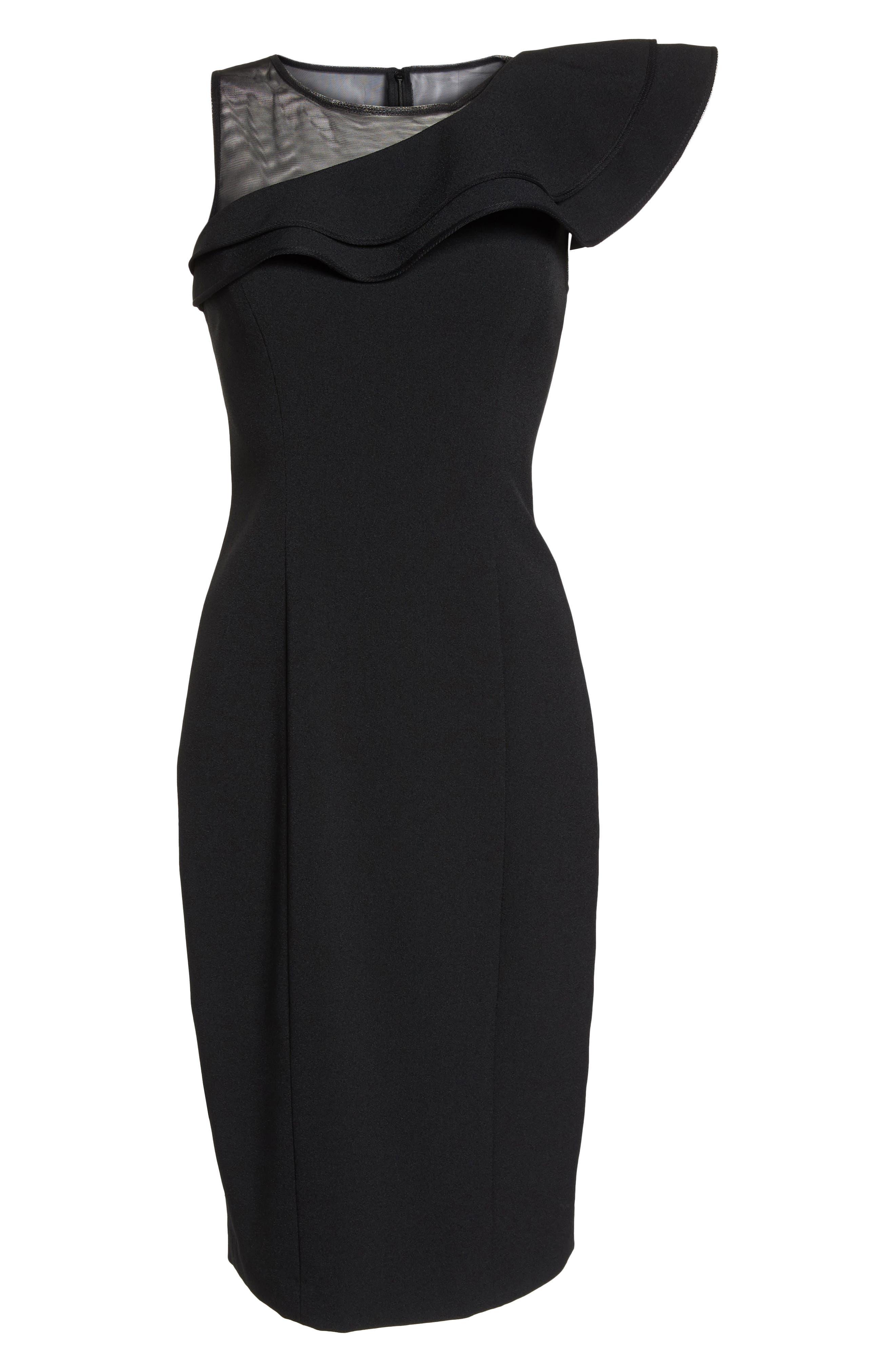Asymmetrical Ruffle Neck Crepe Cocktail Dress,                             Alternate thumbnail 7, color,                             BLACK