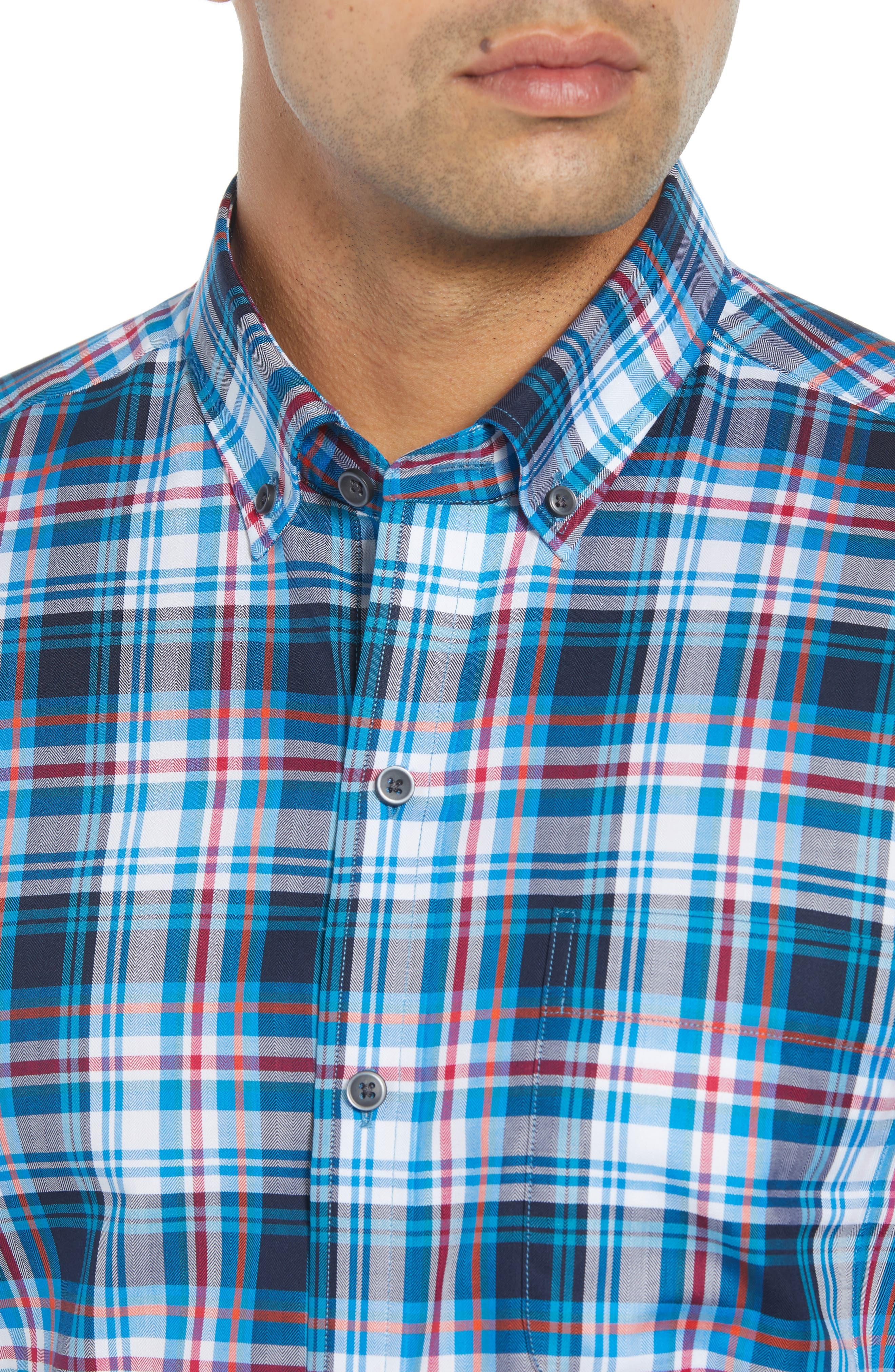 Brad Regular Fit Non-Iron Plaid Sport Shirt,                             Alternate thumbnail 2, color,                             LIBERTY NAVY