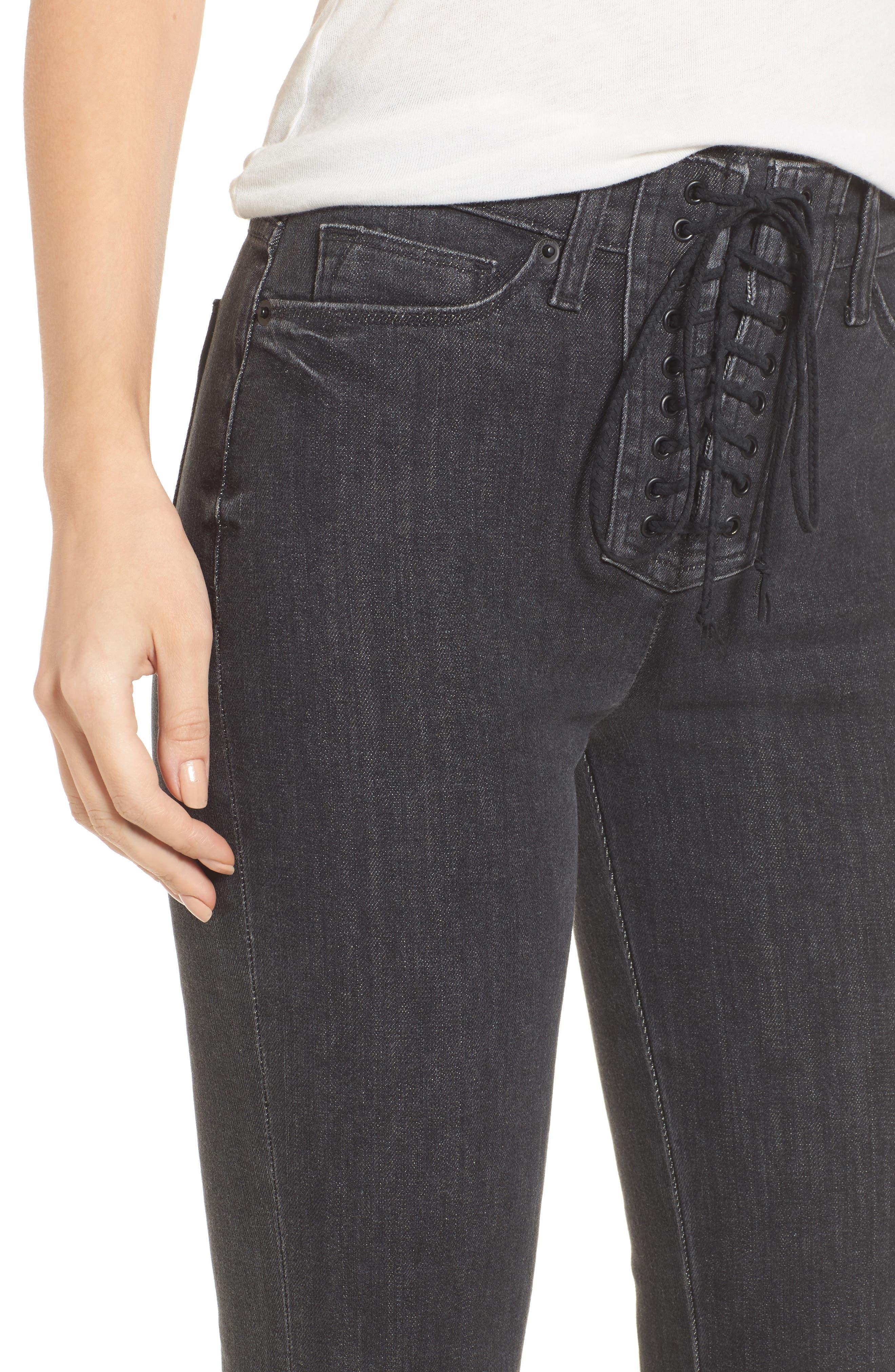 Bullocks High Waist Lace-Up Flare Jeans,                             Alternate thumbnail 4, color,                             064