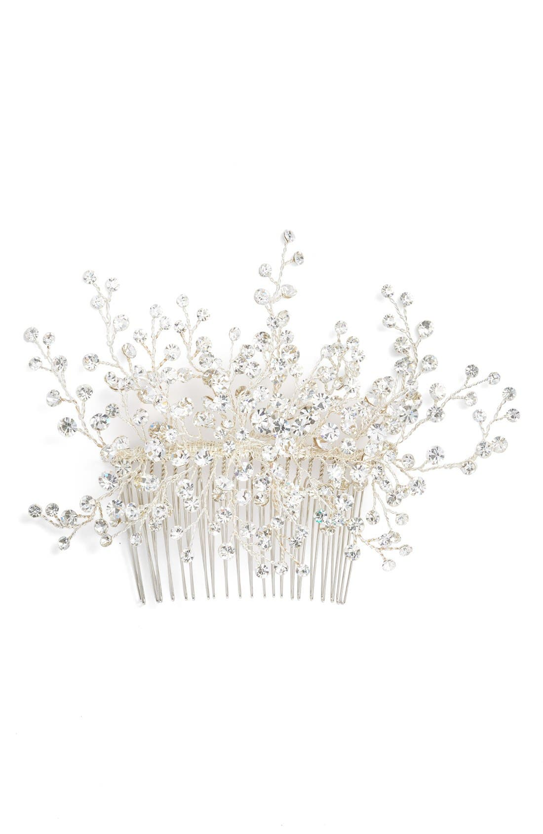 'Veda' Crystal Embellished Hair Comb,                             Alternate thumbnail 3, color,                             CLASSIC SILVER