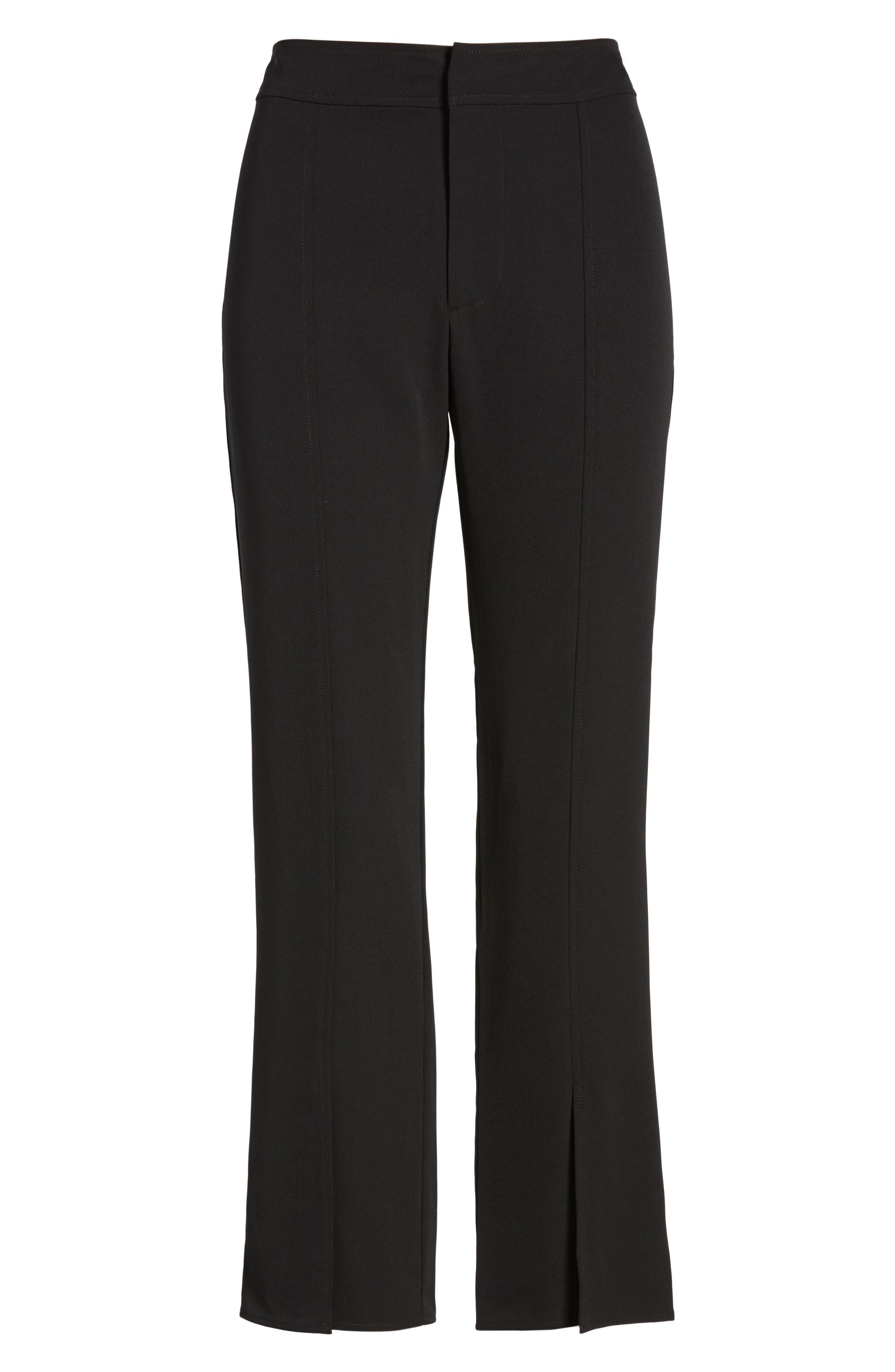 Skinny Slit Hem Pants,                             Alternate thumbnail 7, color,                             BLACK