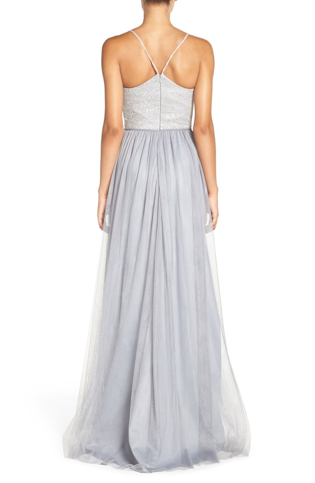 Metallic Lace & Tulle Spaghetti Strap Gown,                             Alternate thumbnail 2, color,                             040