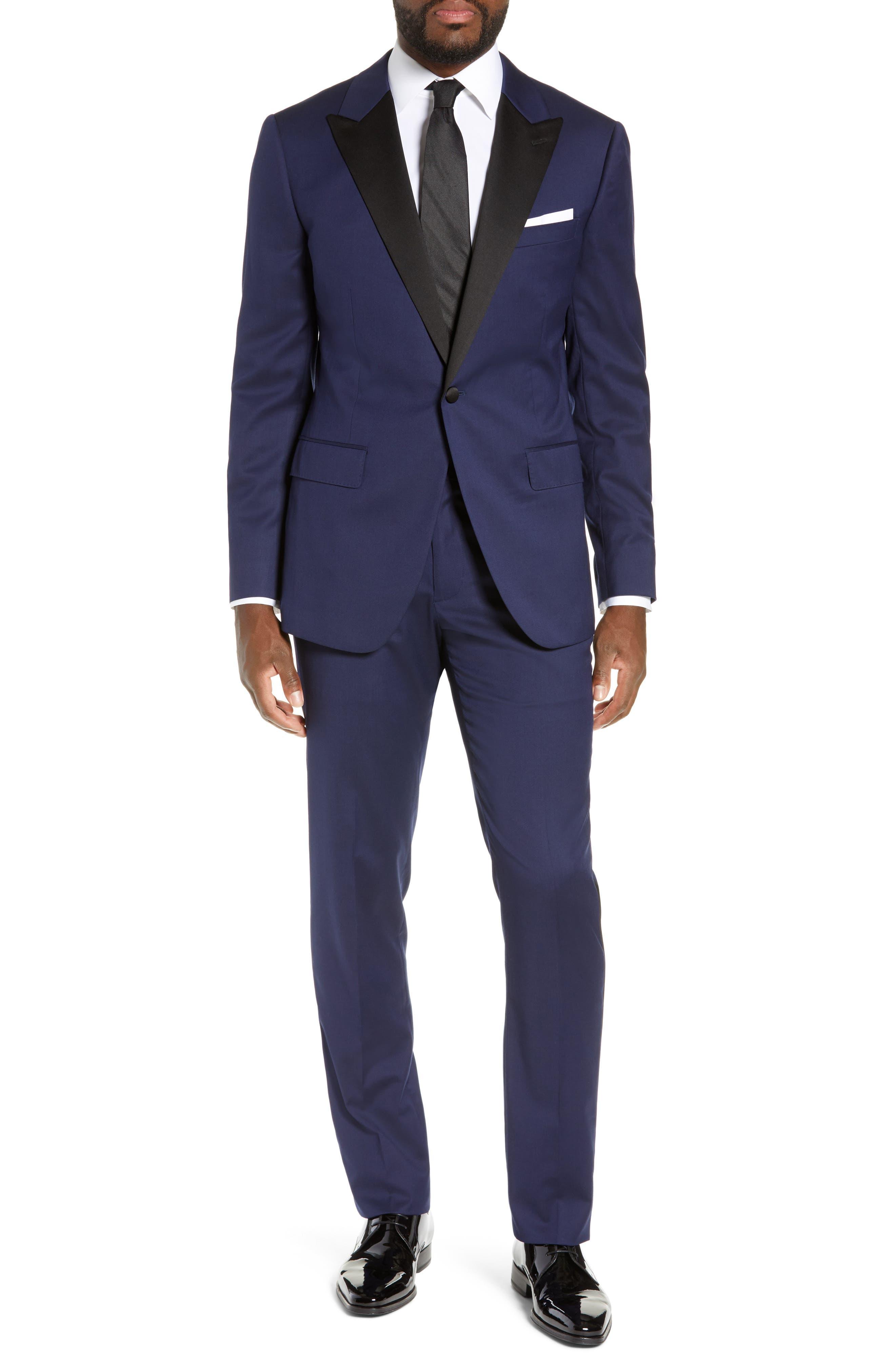 Capstone Slim Fit Tuxedo Trousers,                             Alternate thumbnail 7, color,                             NAVY