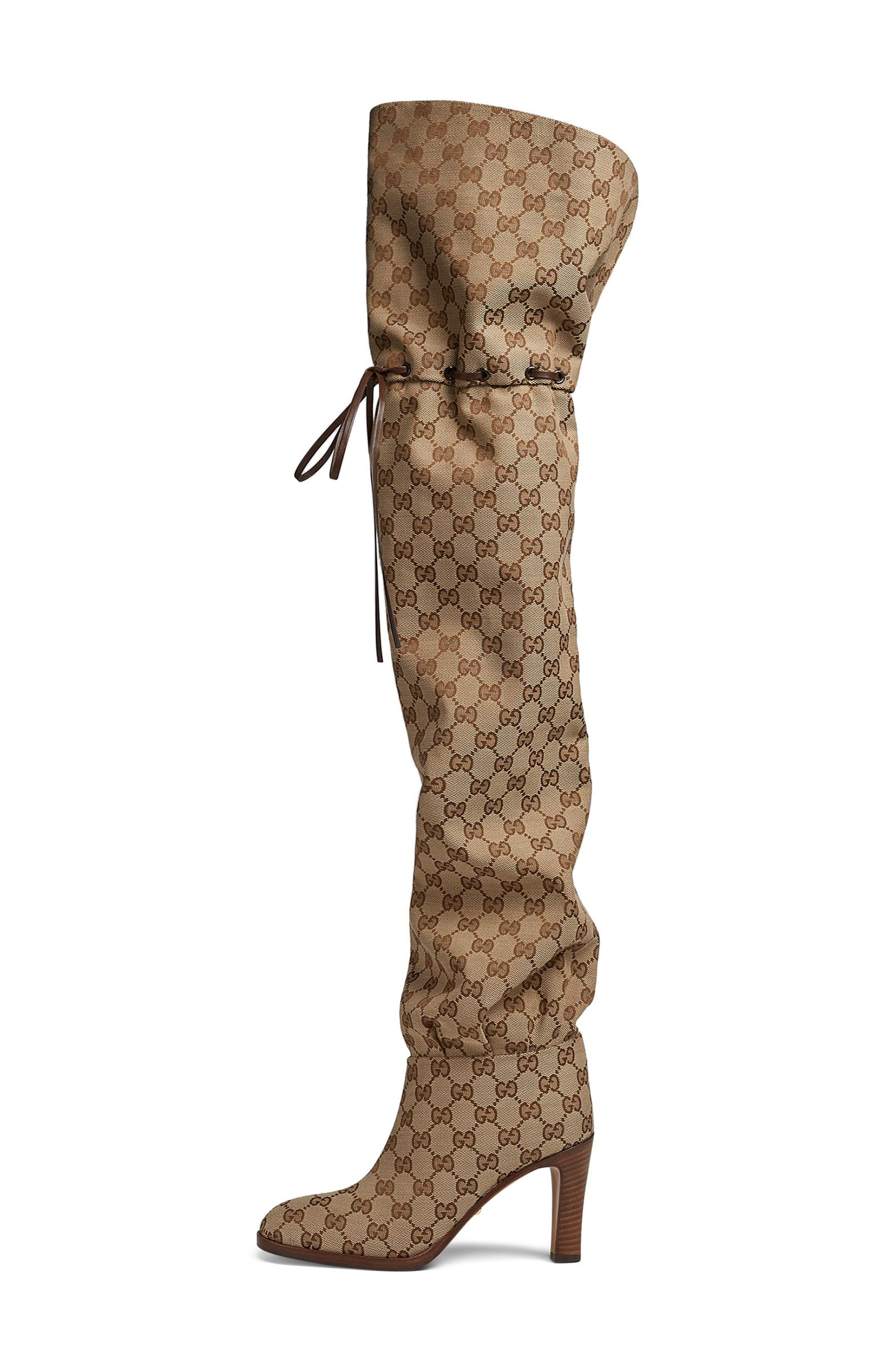 Original GG Canvas Over the Knee Boot,                             Alternate thumbnail 3, color,                             BEIGE
