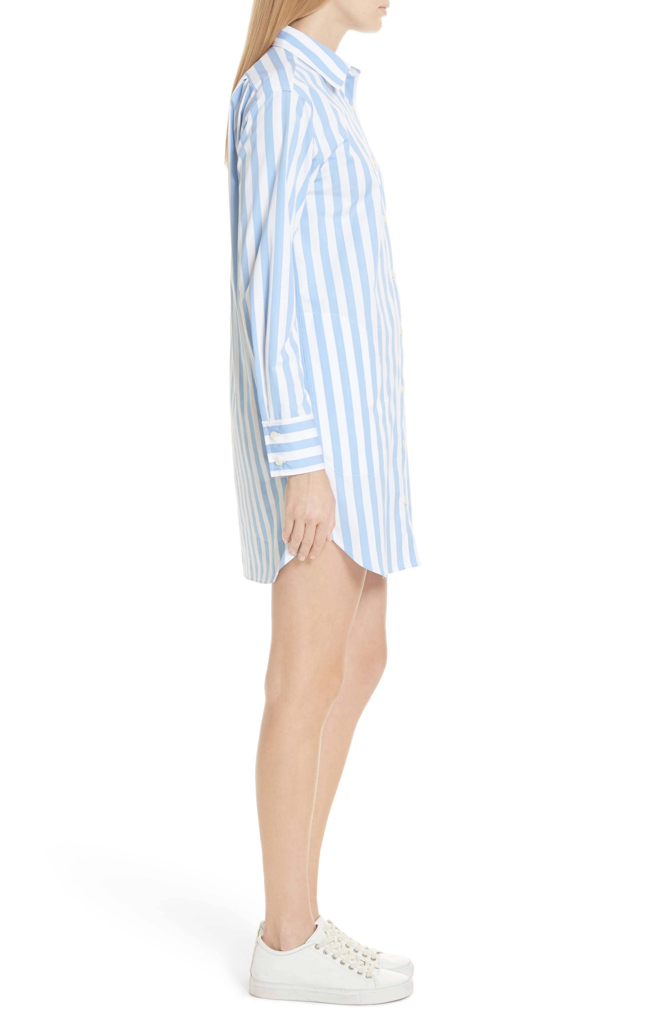 The Shirt Dress,                             Alternate thumbnail 3, color,                             WHITE/ SKY BOLD