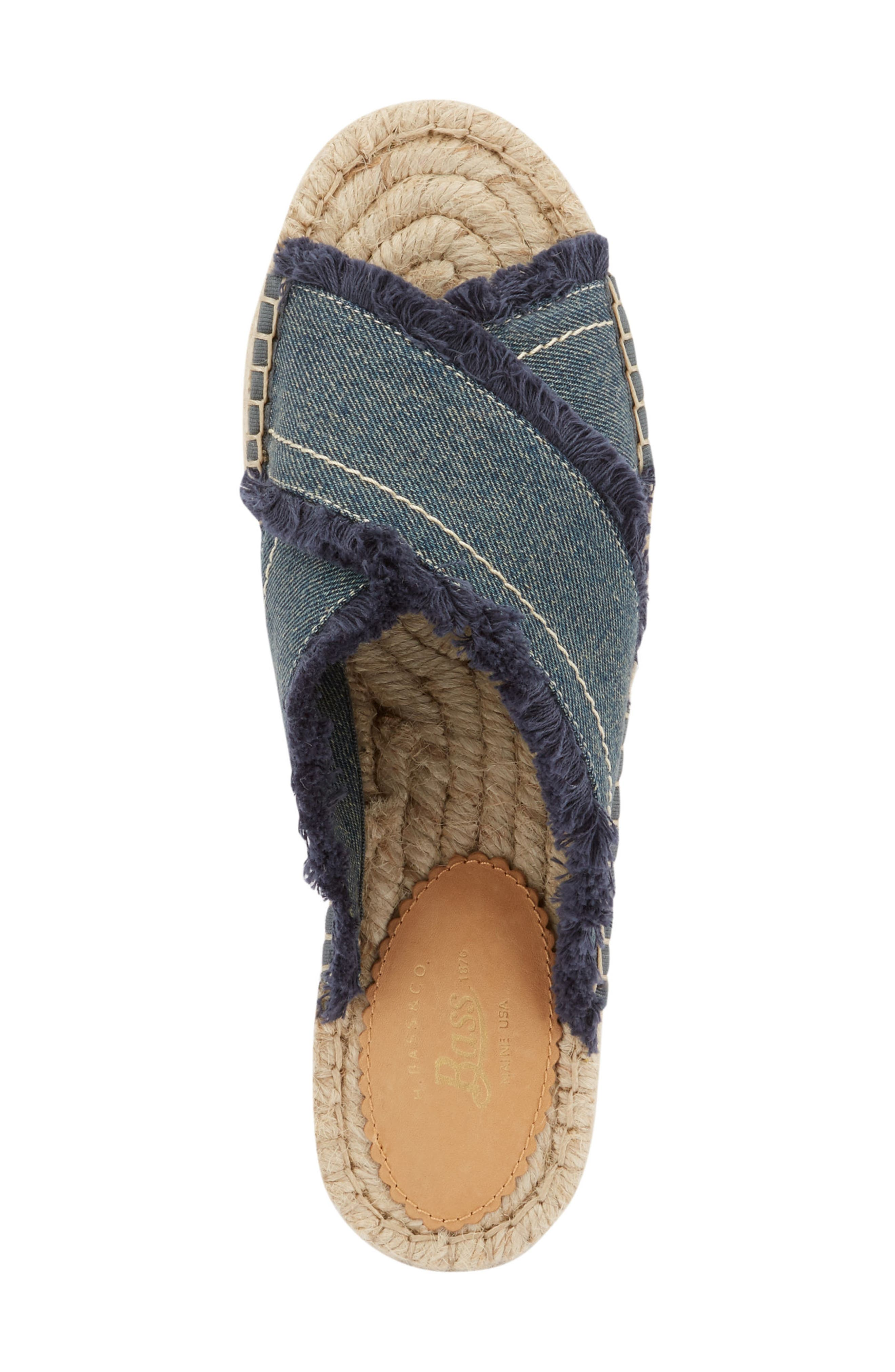 Anabelle Espadrille Sandal,                             Alternate thumbnail 5, color,                             DARK BLUE DENIM FABRIC