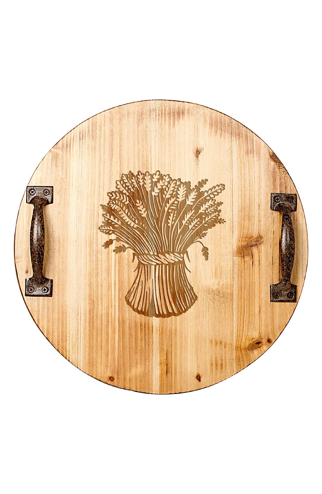 'Wheat Stalk' Rustic Wooden Tray,                             Alternate thumbnail 2, color,