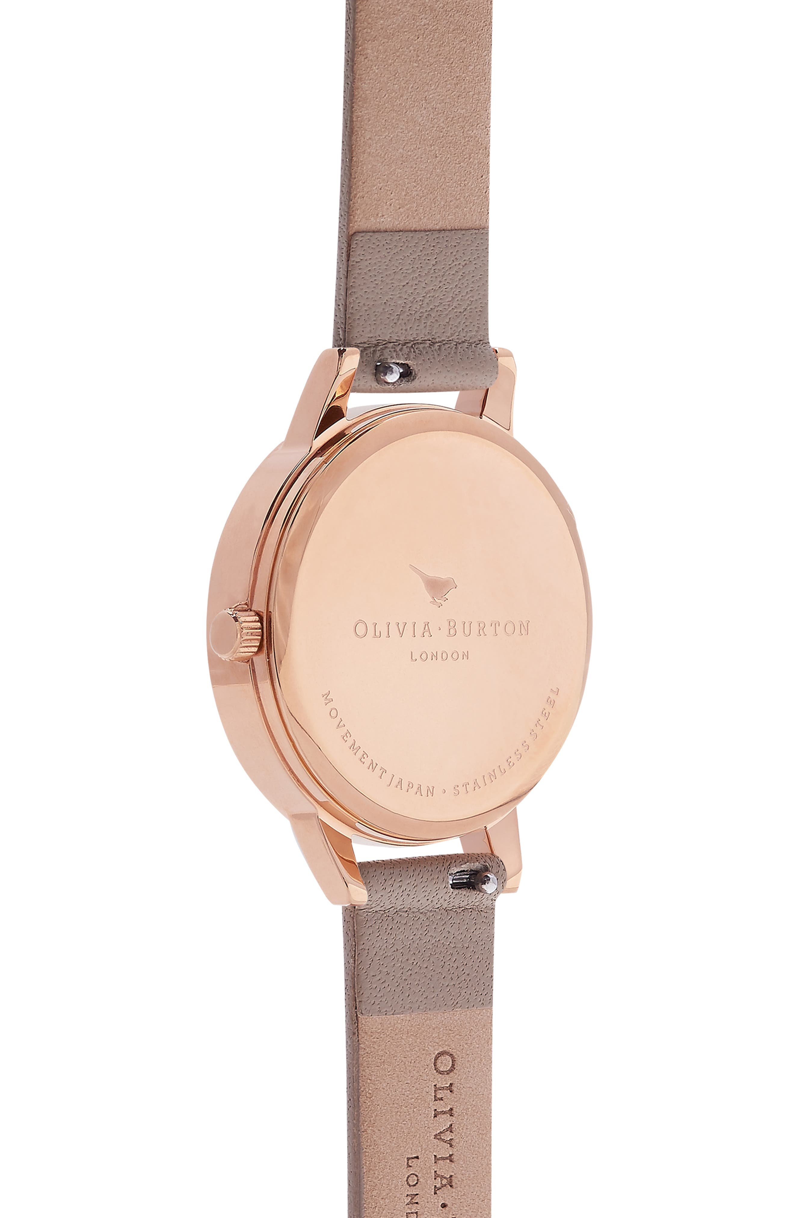 Marble Floral Leather Strap Watch, 30mm,                             Alternate thumbnail 3, color,                             SAND/ FLORAL/ ROSE GOLD