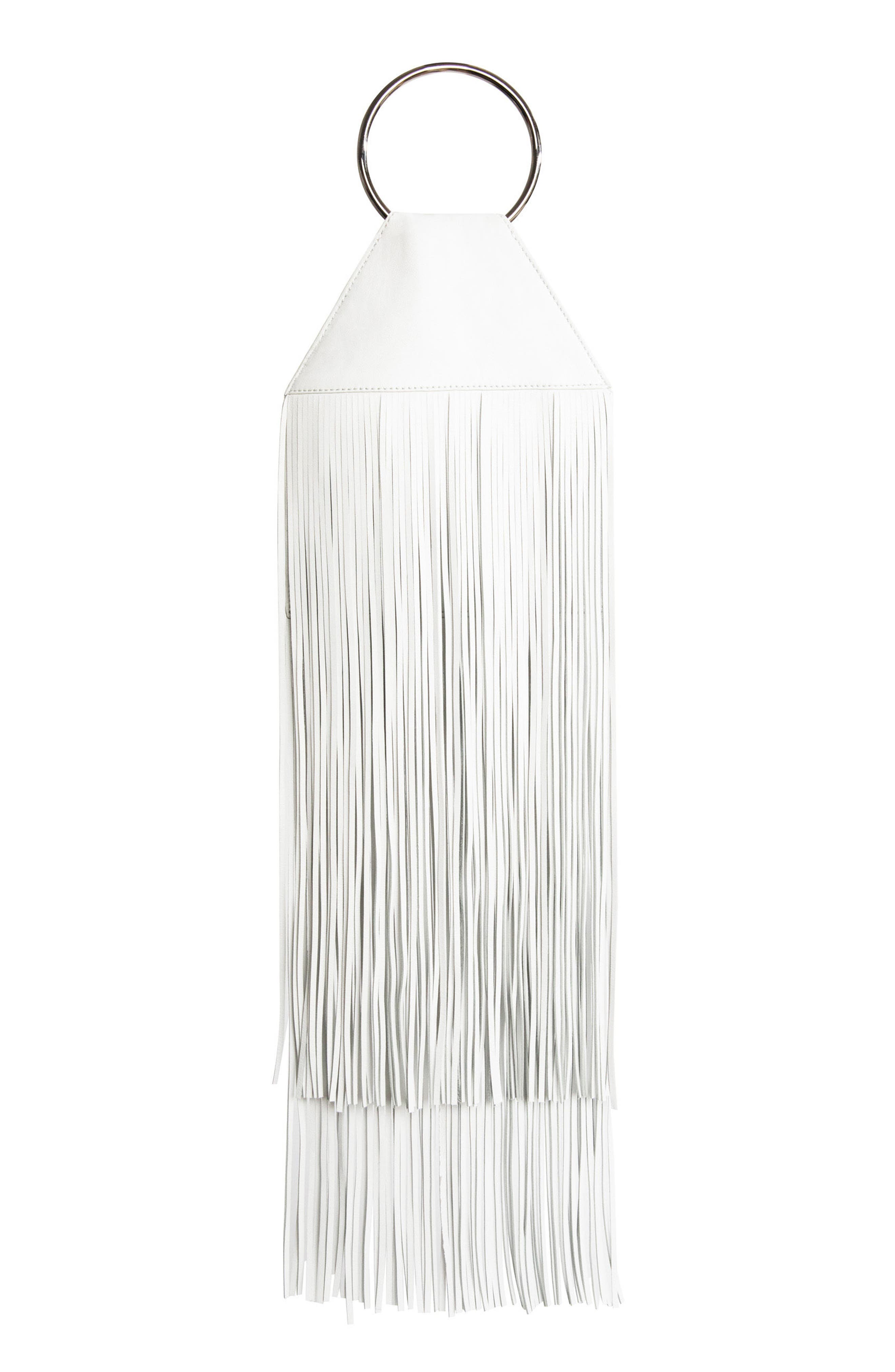 KARA Fringe Lambskin Ring Clutch - Metallic in White/ Silver