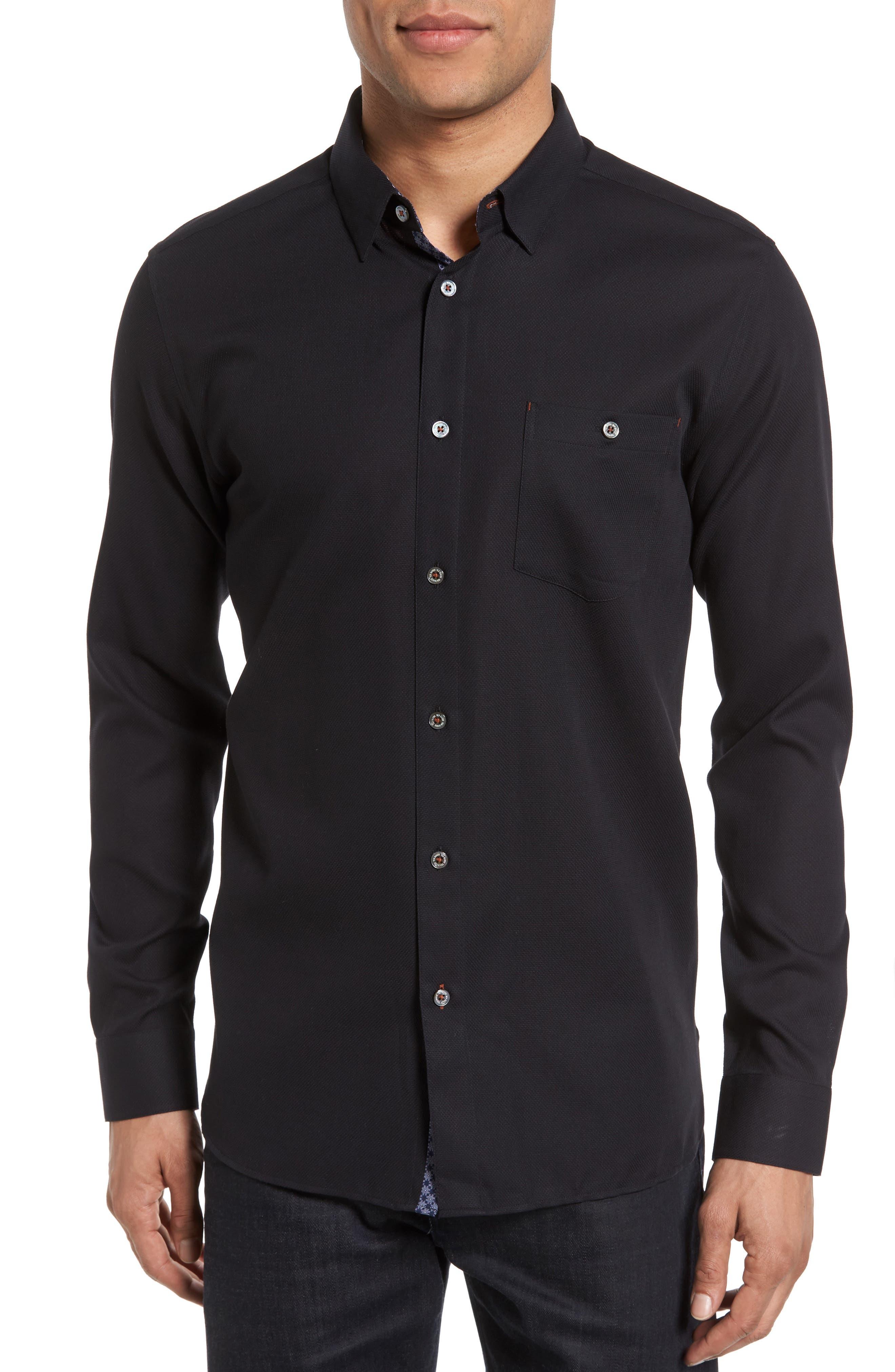 Nordlux Modern Slim Fit Stretch Cotton Sport Shirt,                             Main thumbnail 1, color,                             001