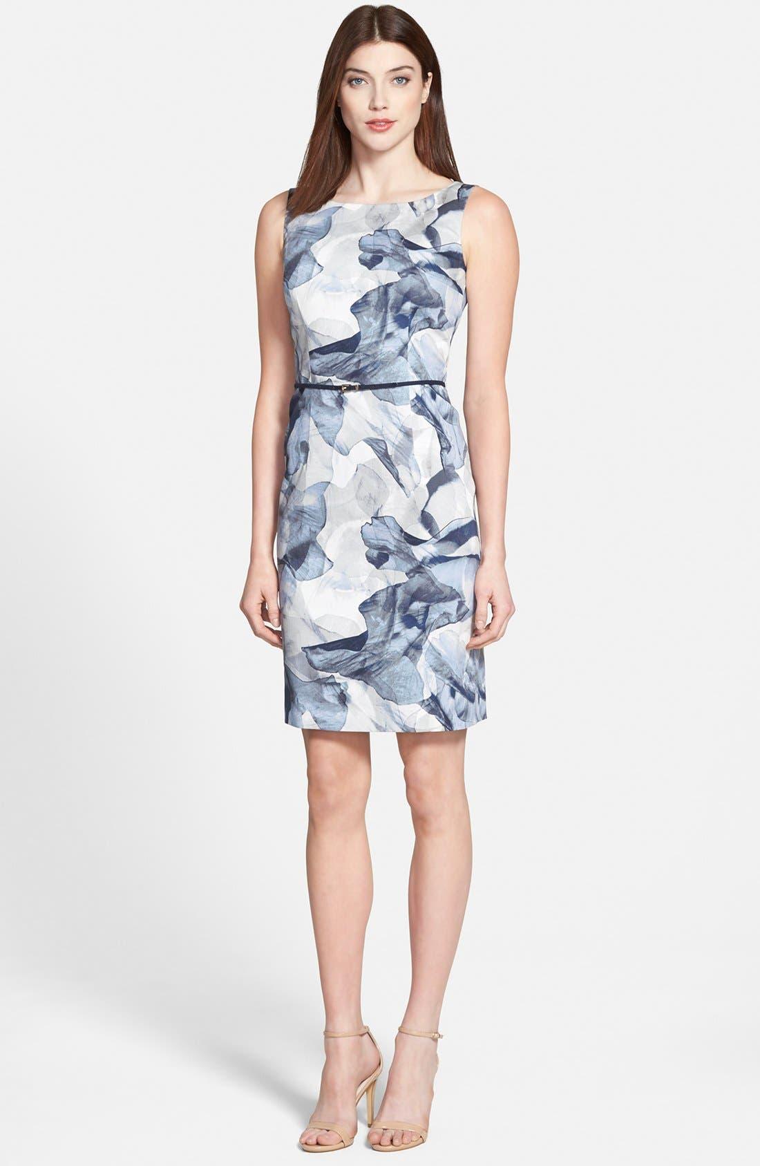 'Dinoma' Belted Sheath Dress, Main, color, 492