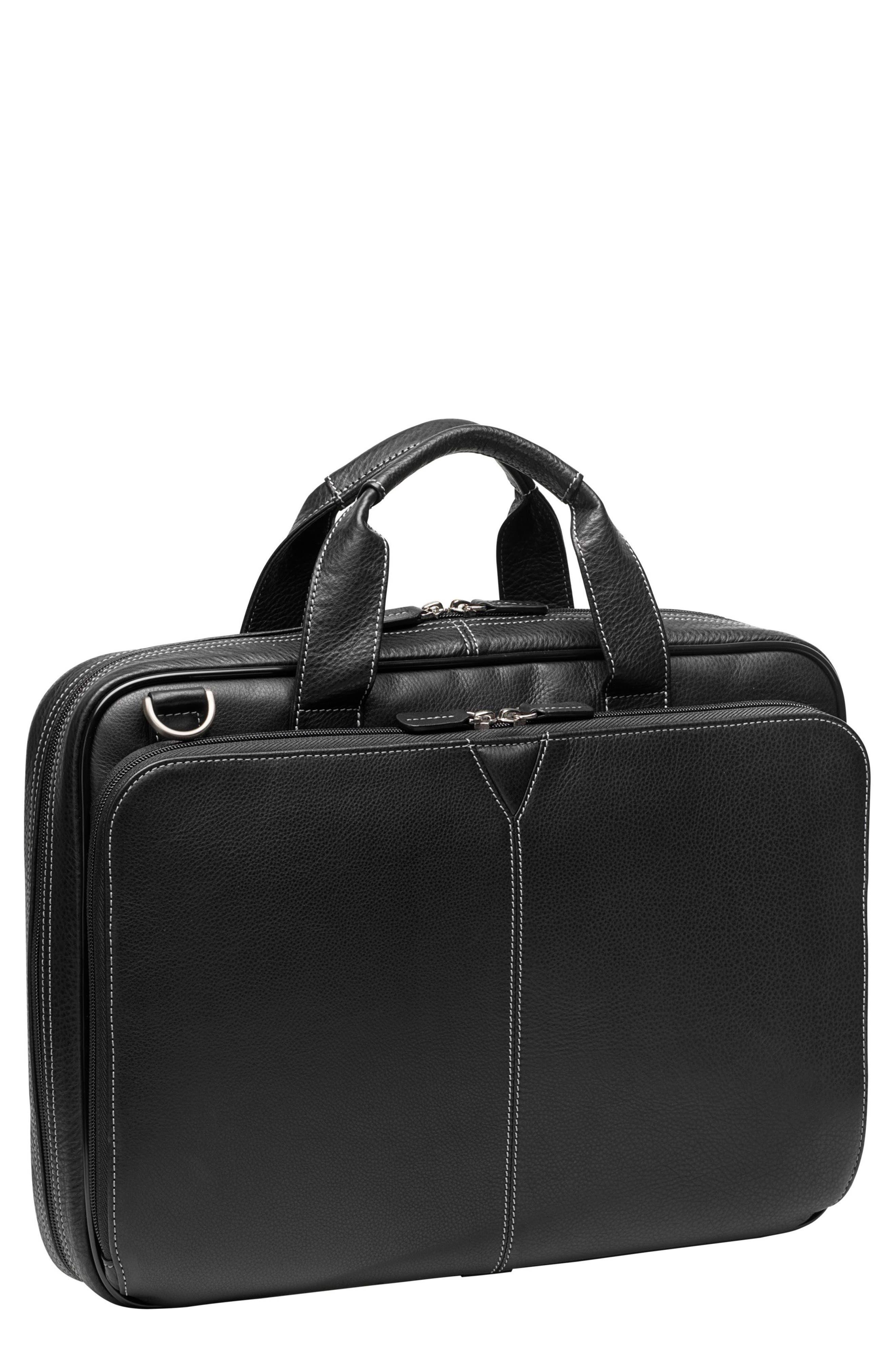 Leather Briefcase,                         Main,                         color, BLACK