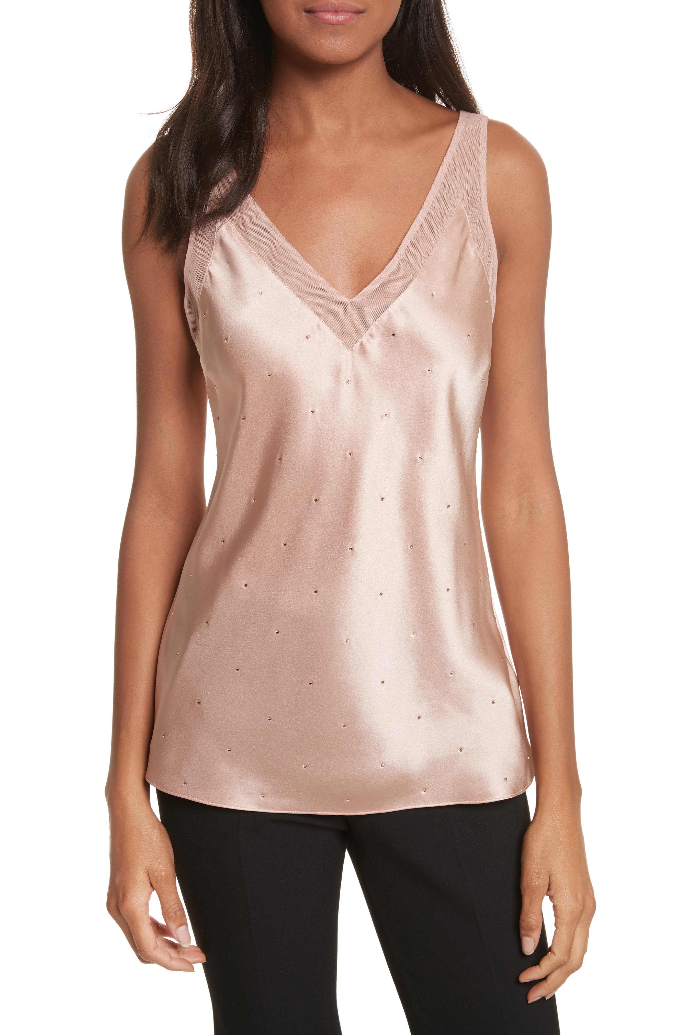 V-Neck Trim Sparkle Camisole,                             Main thumbnail 1, color,