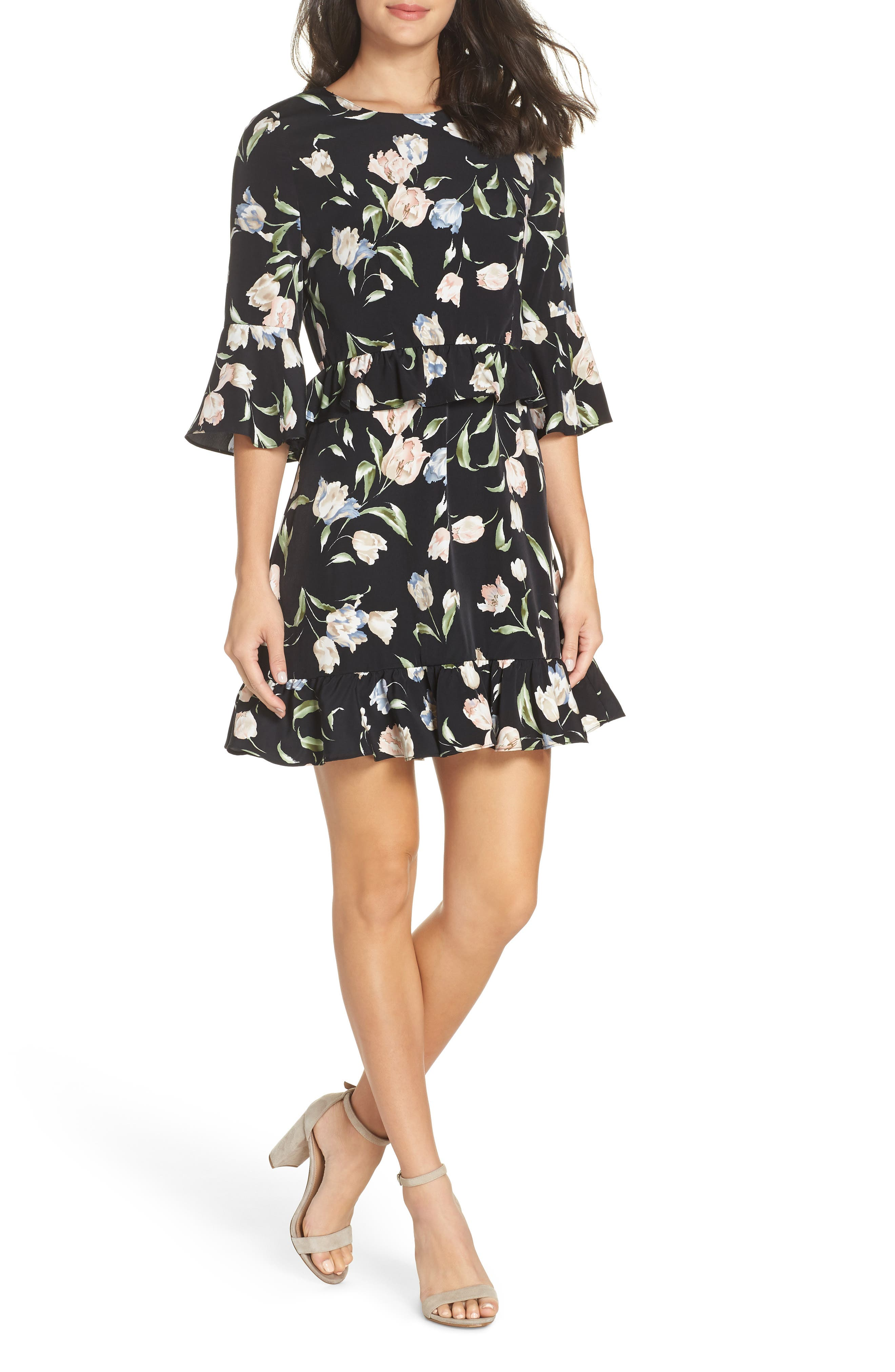Floral Bell Sleeve Dress,                         Main,                         color, BLACK MULTI