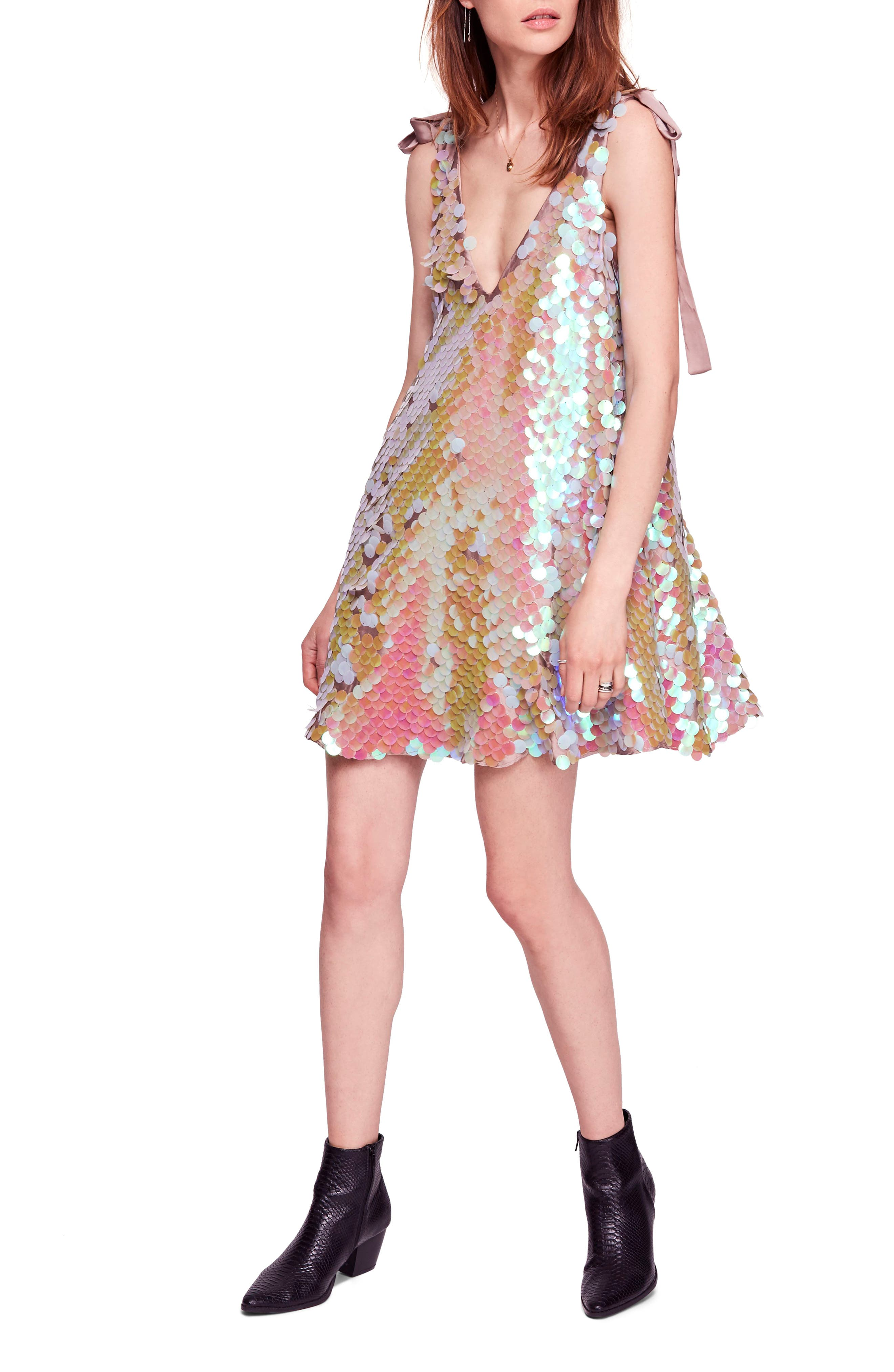 Penelope Glitter Disc Sequin Swing Dress,                             Main thumbnail 1, color,                             440