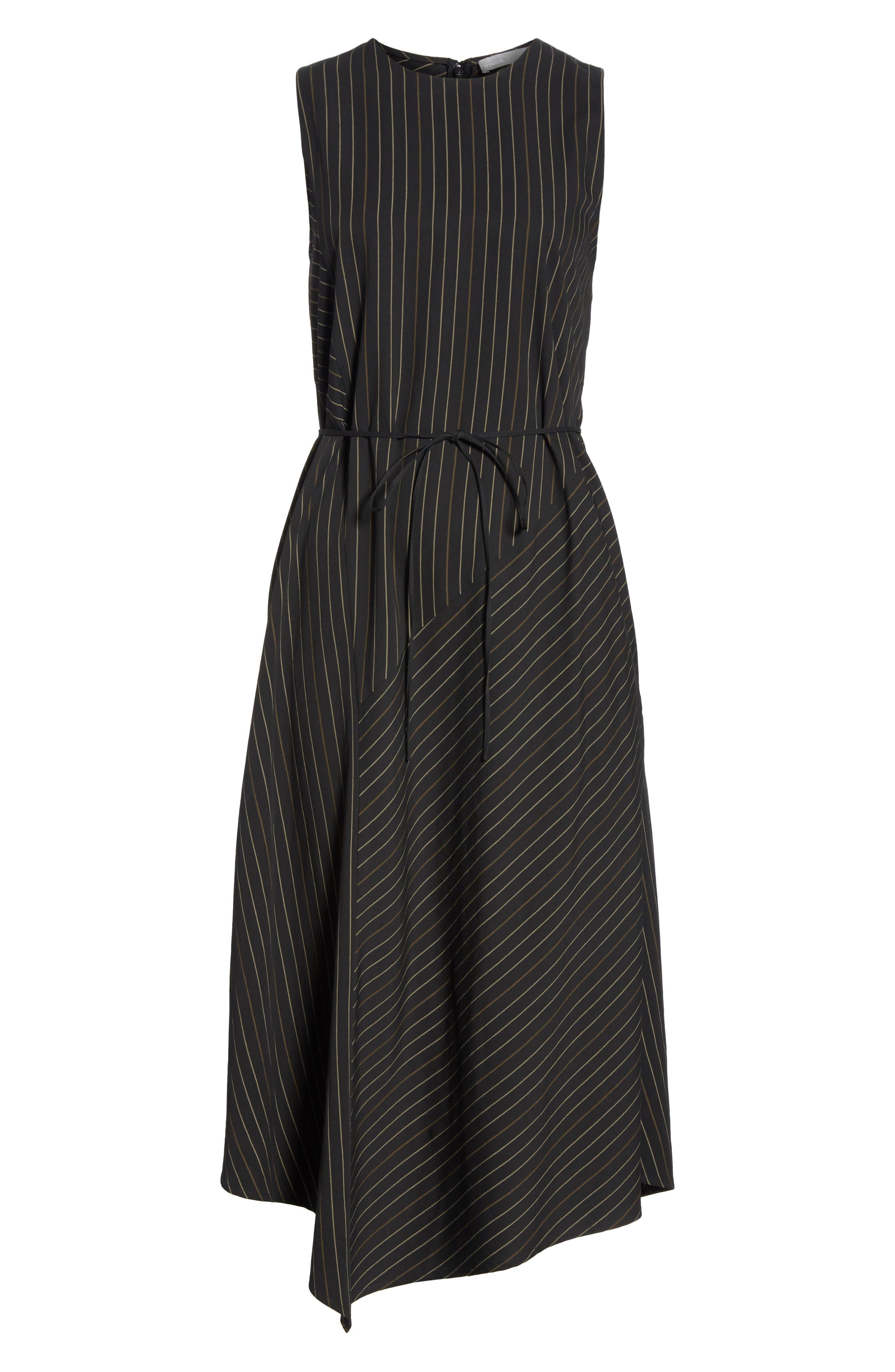 Bar Stripe Paneled Dress,                             Alternate thumbnail 7, color,                             BLACK