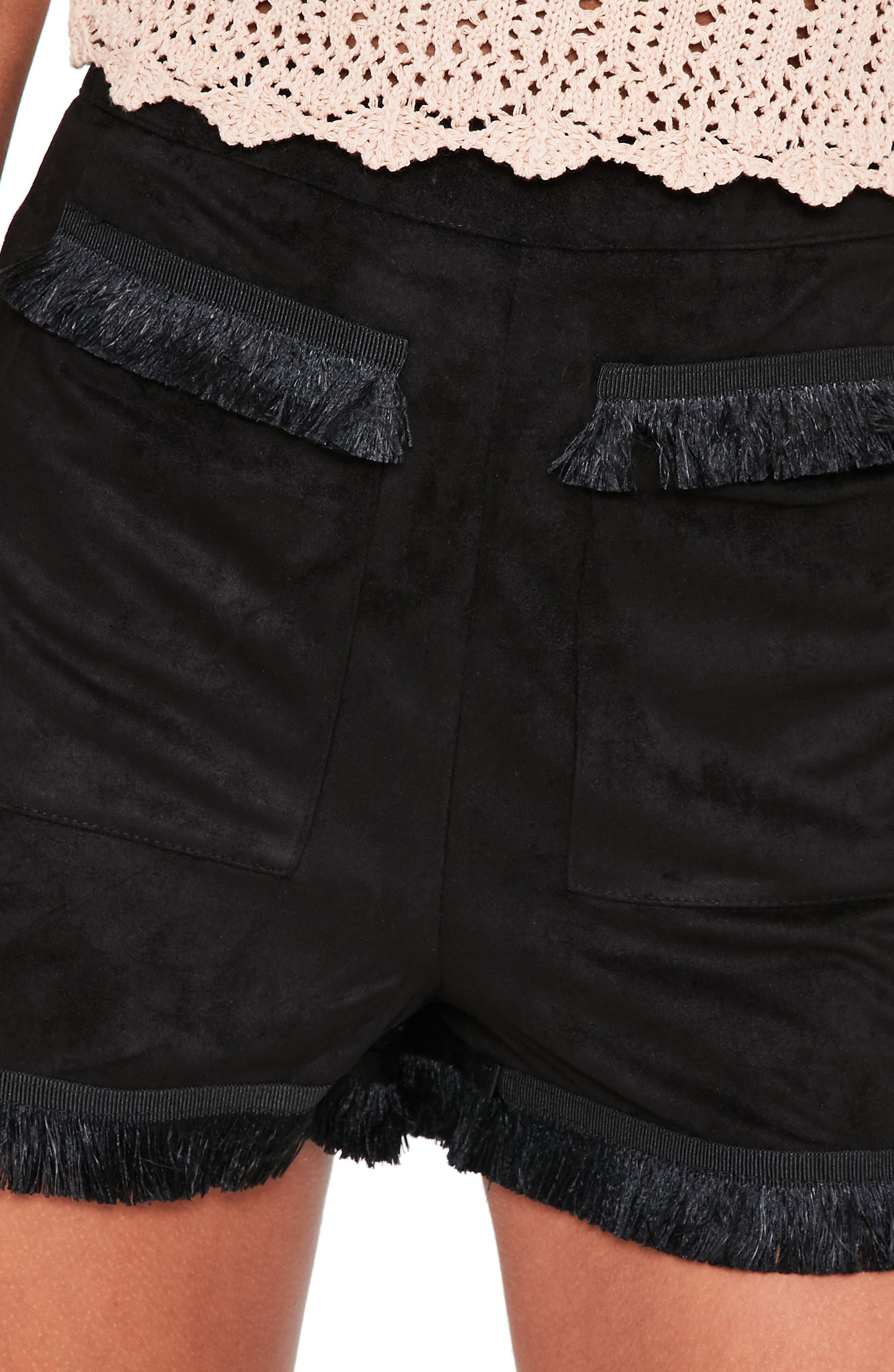 Fringe Detail Faux Suede Shorts,                             Alternate thumbnail 4, color,                             001