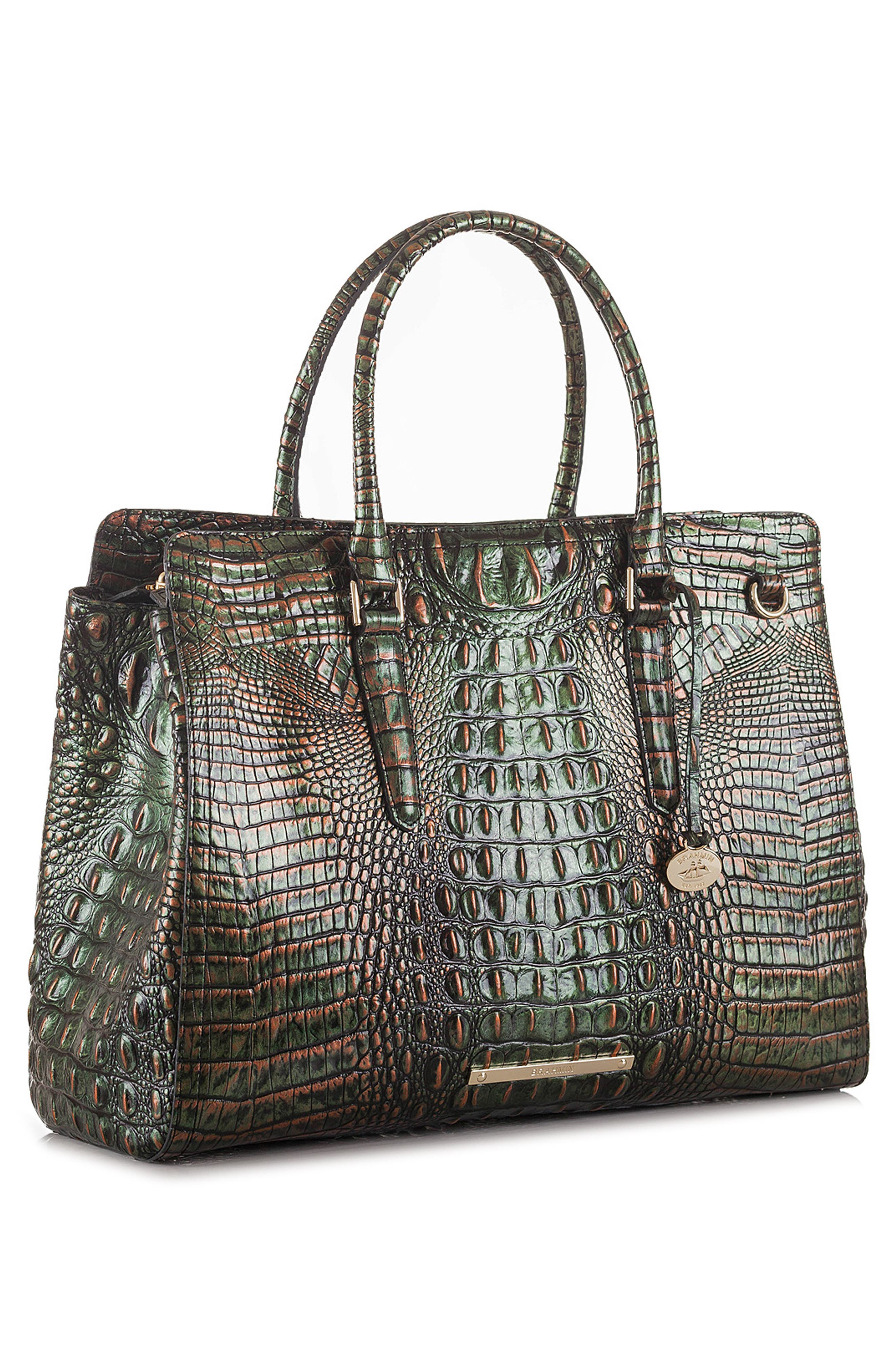 Finley Croc Embossed Leather Tote,                             Alternate thumbnail 4, color,                             SAMBA