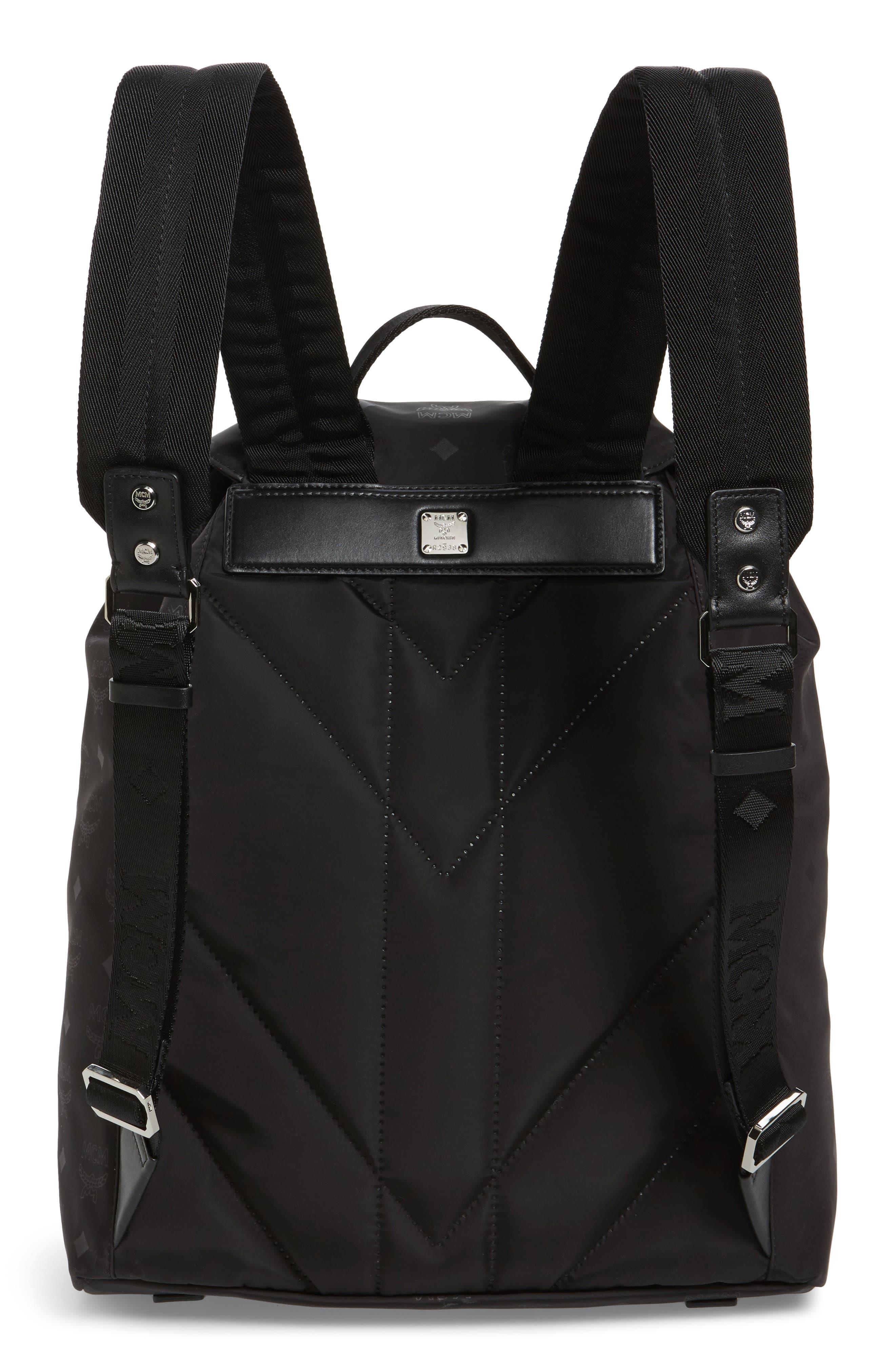 Large Dieter Monogrammed Nylon Backpack,                             Alternate thumbnail 3, color,                             001