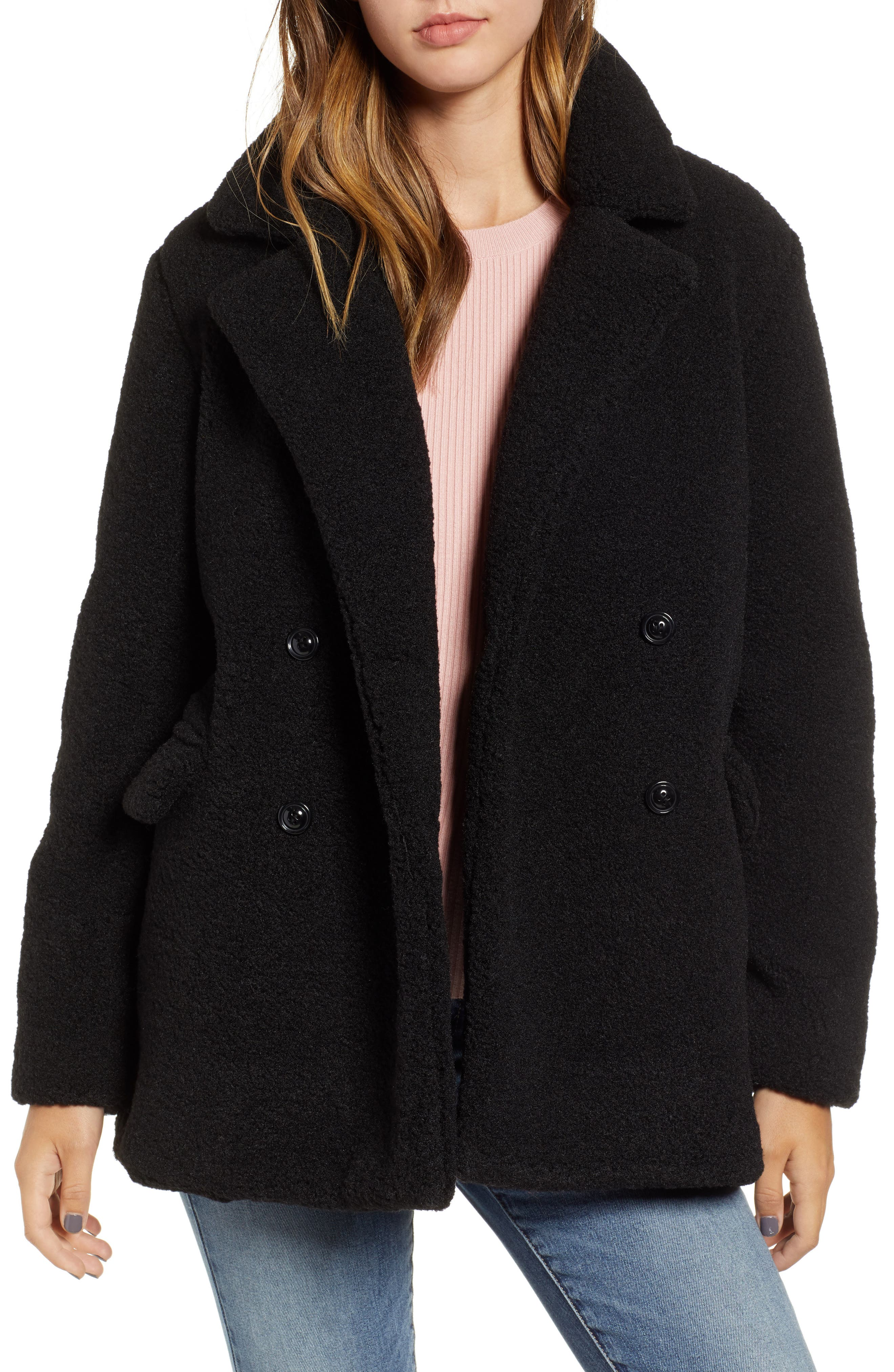 Textured Double Breasted Coat,                         Main,                         color, BLACK