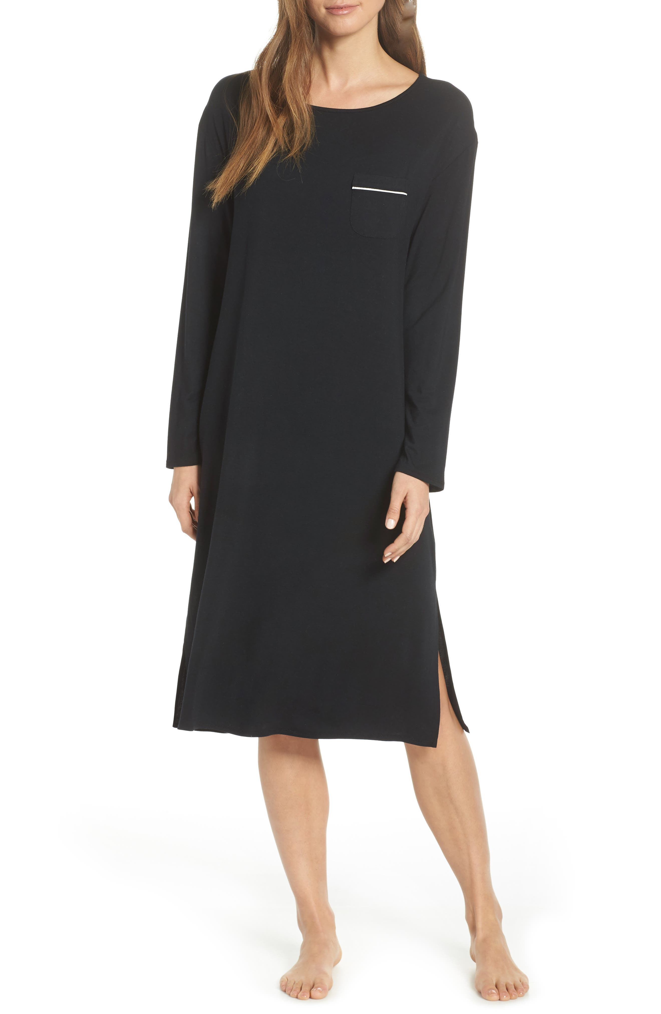 Nordstrom Lingerie Moonlight Midi Nightgown, Black