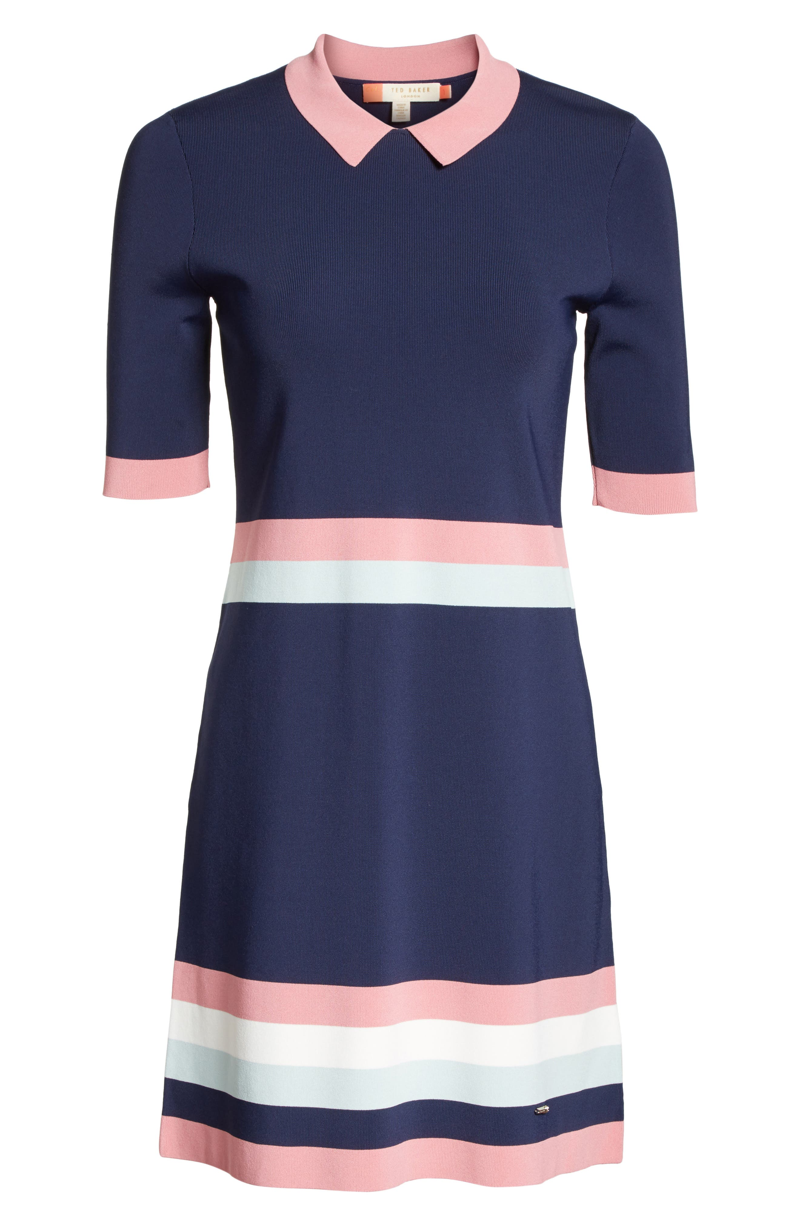 Colour by Numbers Border Stripe Dress,                             Alternate thumbnail 11, color,