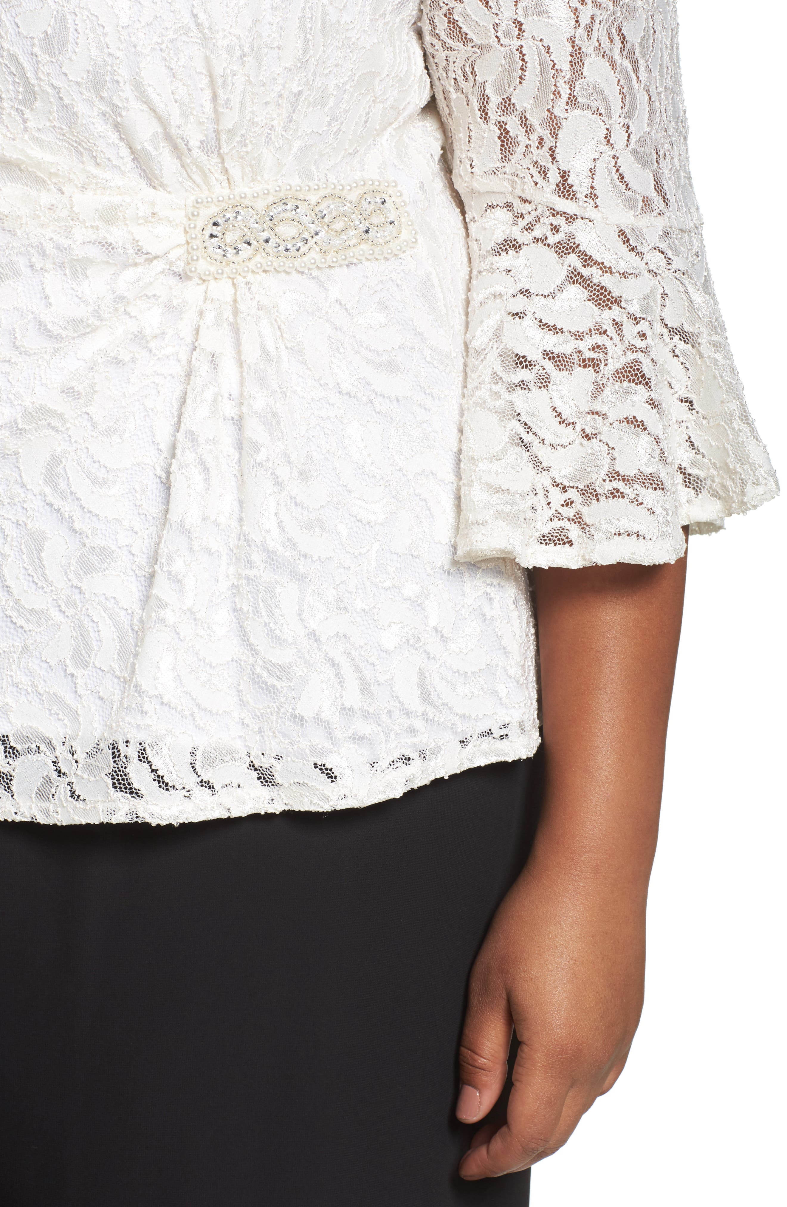 Embellished Side Lace Blouse,                             Alternate thumbnail 4, color,                             110