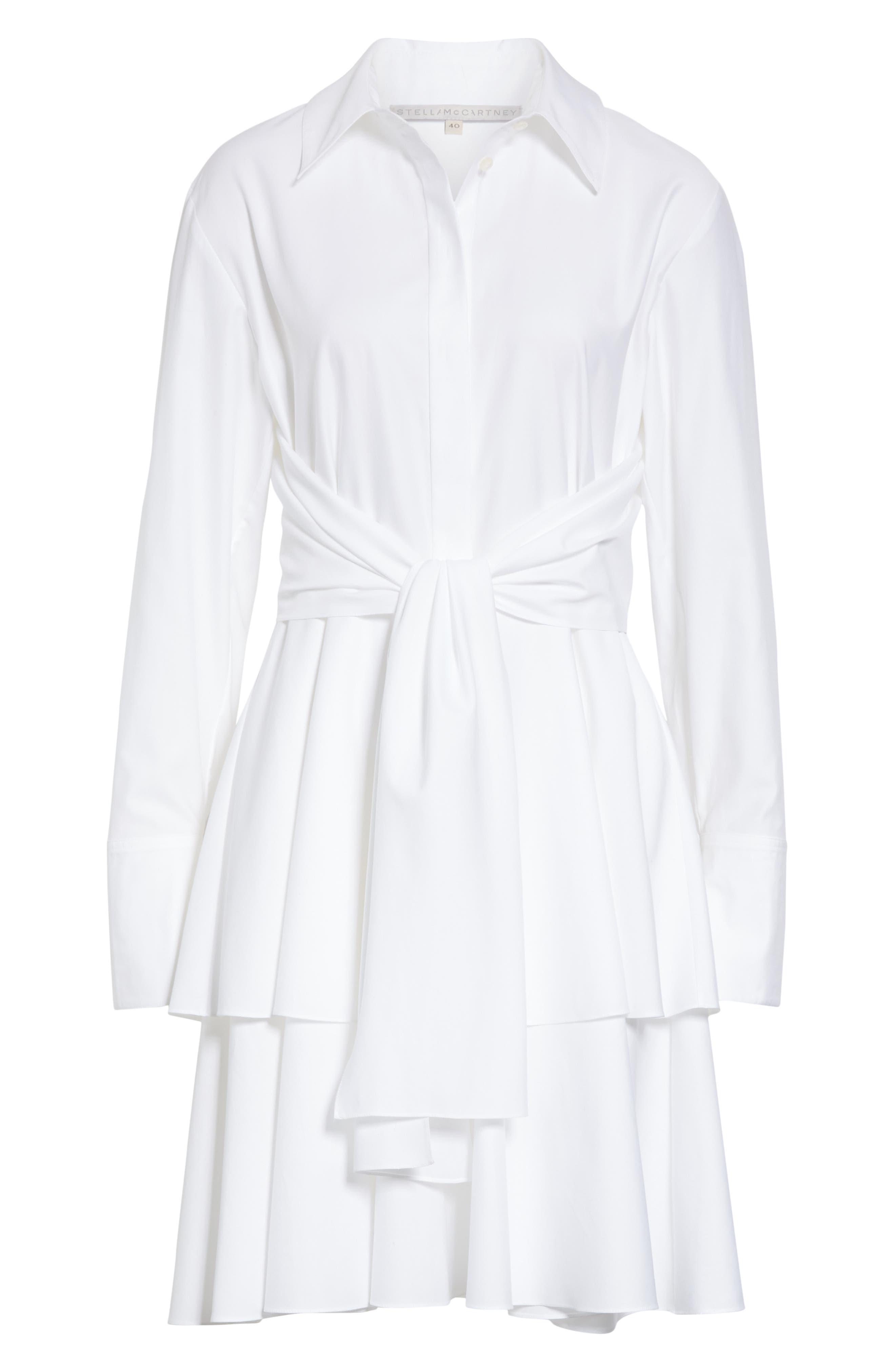 Tie Waist Tiered Poplin Dress,                             Alternate thumbnail 7, color,                             PURE WHITE